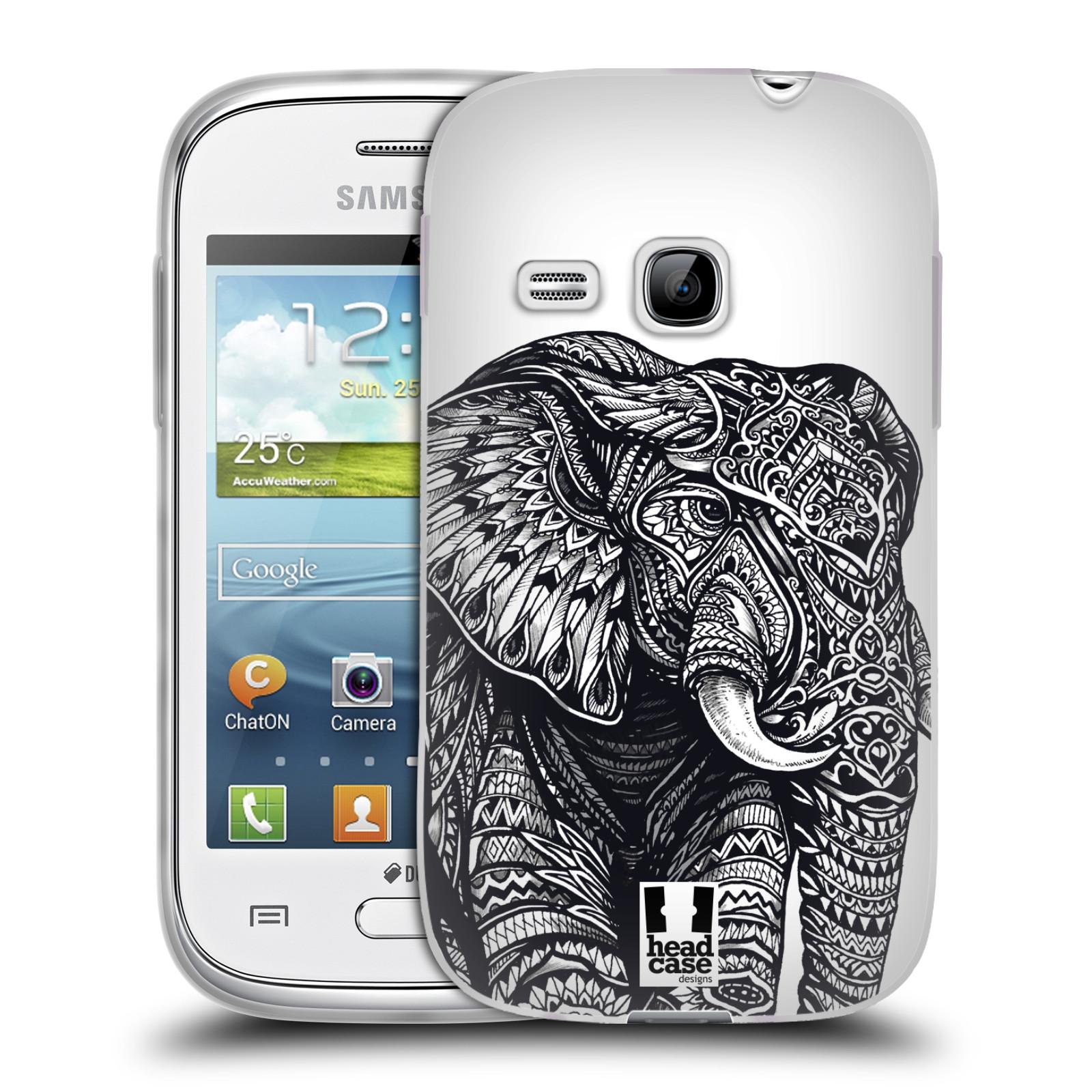Silikonové pouzdro na mobil Samsung Galaxy Young HEAD CASE Zdobený Slon (Silikonový kryt či obal na mobilní telefon Samsung Galaxy Young GT-S6310)