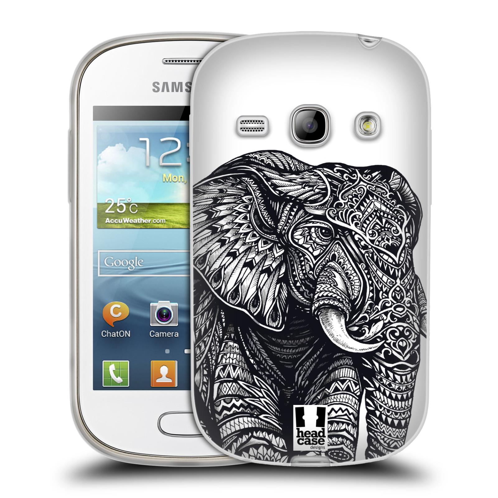 Silikonové pouzdro na mobil Samsung Galaxy Fame HEAD CASE Zdobený Slon (Silikonový kryt či obal na mobilní telefon Samsung Galaxy Fame GT-S6810)