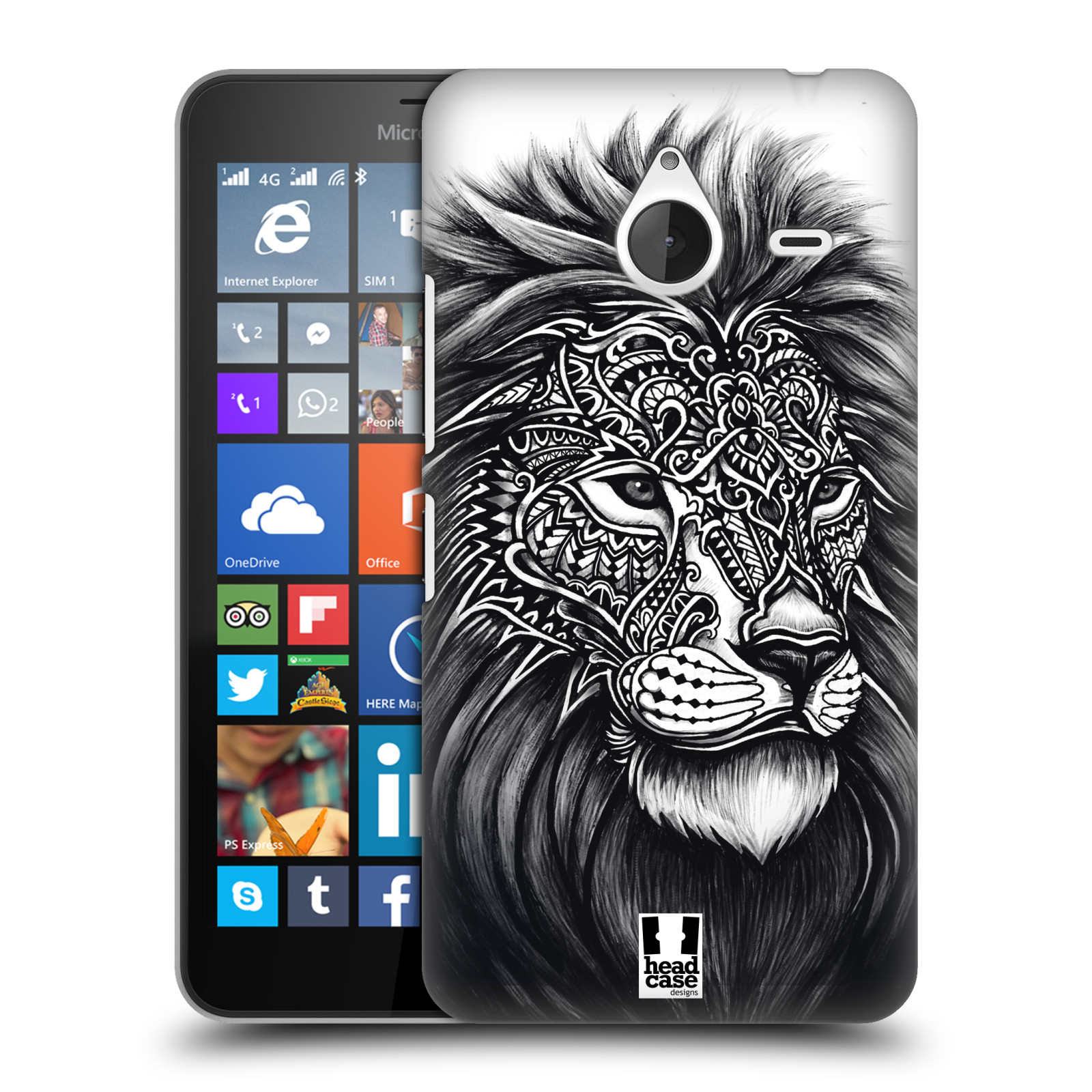 Plastové pouzdro na mobil Microsoft Lumia 640 XL HEAD CASE Zdobený Lev (Plastový kryt či obal na mobilní telefon Microsoft Lumia 640 XL)