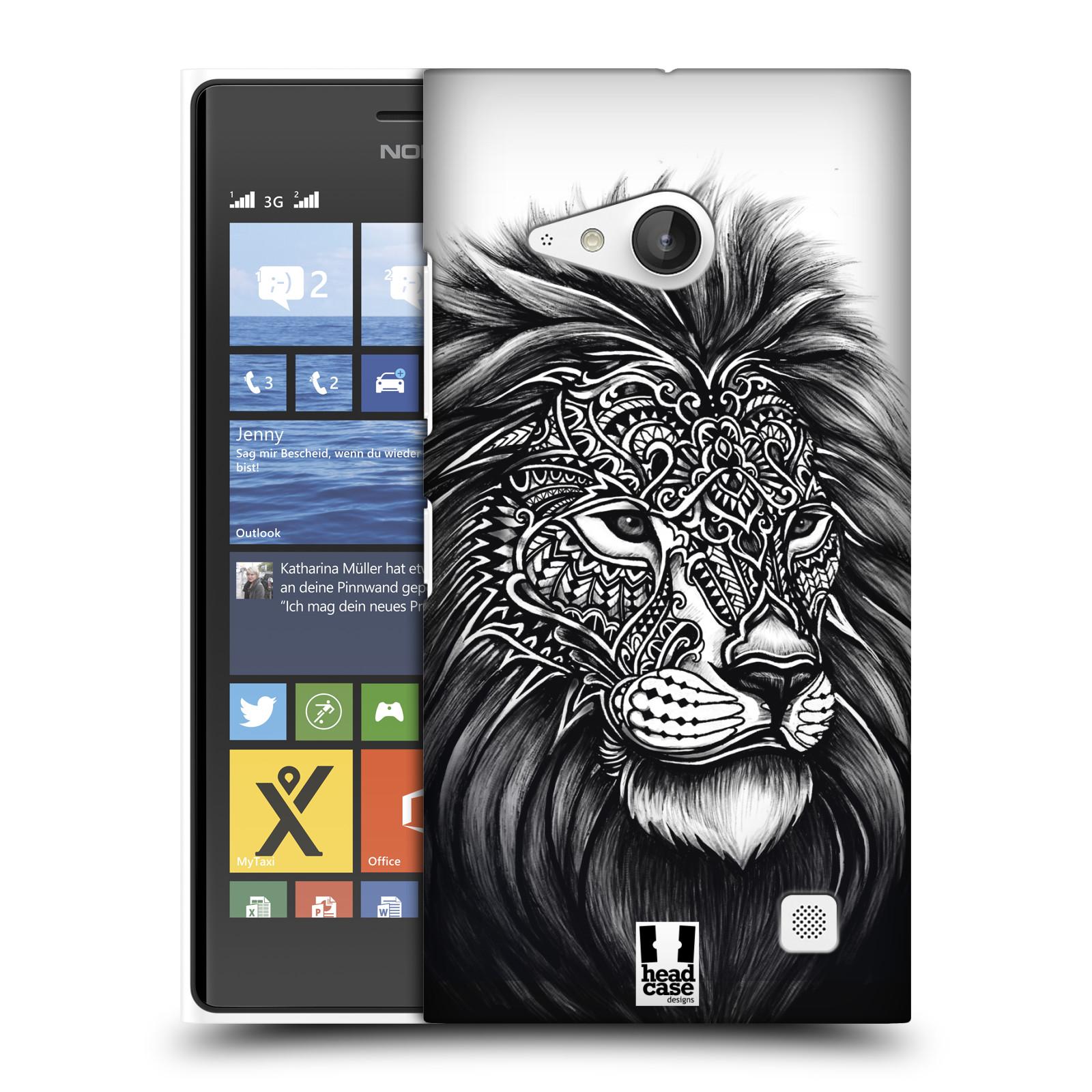 Plastové pouzdro na mobil Nokia Lumia 730 Dual SIM HEAD CASE Zdobený Lev (Plastový kryt či obal na mobilní telefon Nokia Lumia 730 Dual SIM)