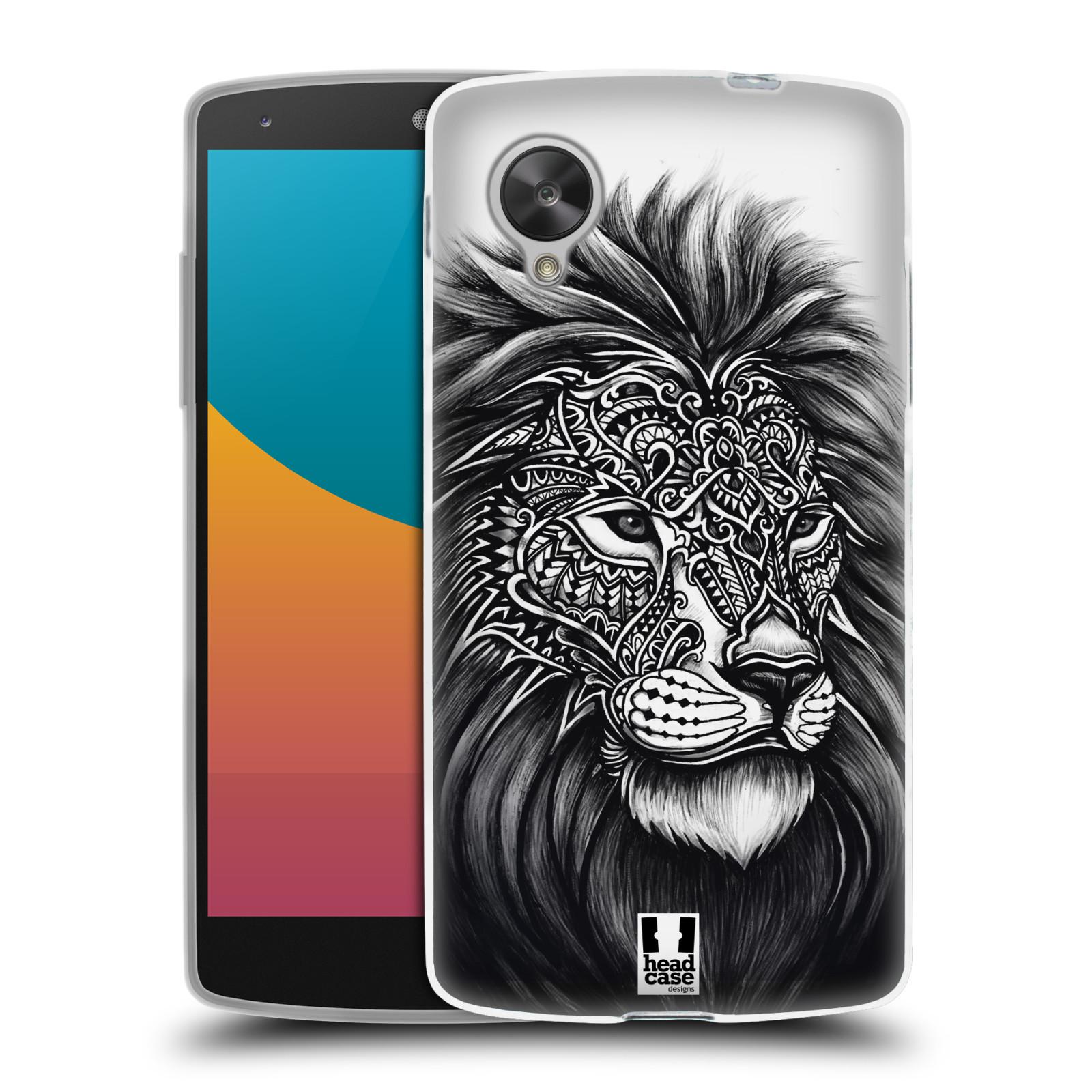 Silikonové pouzdro na mobil LG Nexus 5 HEAD CASE Zdobený Lev (Silikonový kryt či obal na mobilní telefon LG Google Nexus 5 D821)