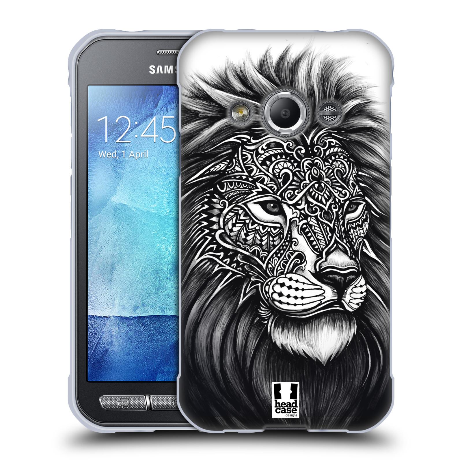Silikonové pouzdro na mobil Samsung Galaxy Xcover 3 HEAD CASE Zdobený Lev (Silikonový kryt či obal na mobilní telefon Samsung Galaxy Xcover 3 SM-G388F)