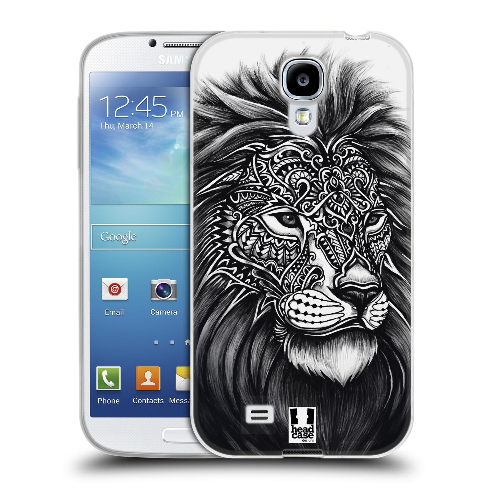 Silikonové pouzdro na mobil Samsung Galaxy S4 HEAD CASE Zdobený Lev (Silikonový kryt či obal na mobilní telefon Samsung Galaxy S4 GT-i9505 / i9500)