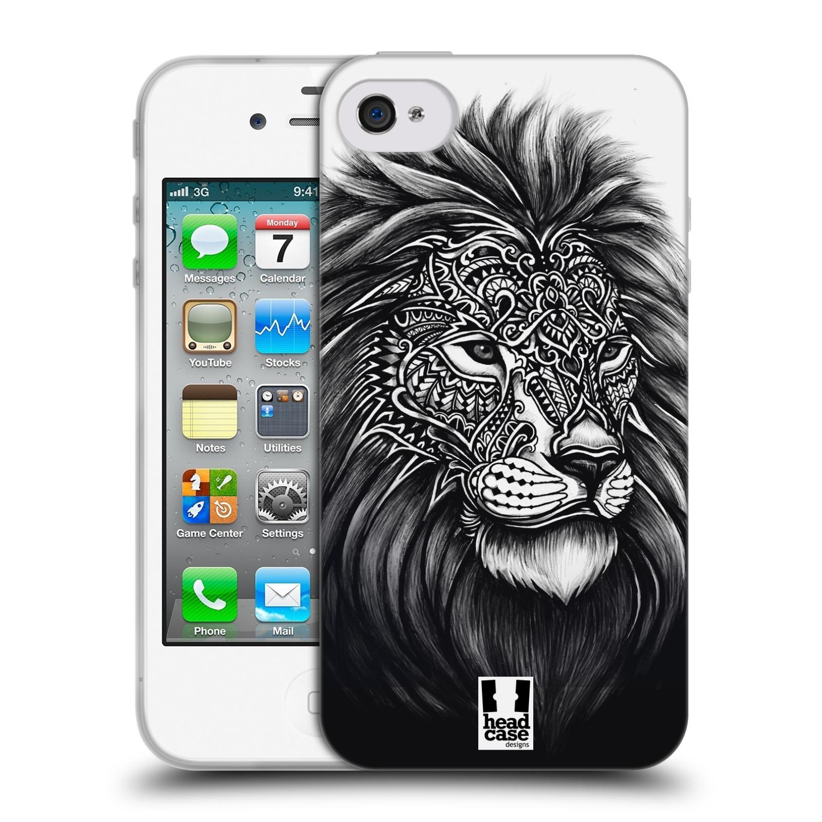 Silikonové pouzdro na mobil Apple iPhone 4 a 4S HEAD CASE Zdobený Lev (Silikonový kryt či obal na mobilní telefon Apple iPhone 4 a 4S)