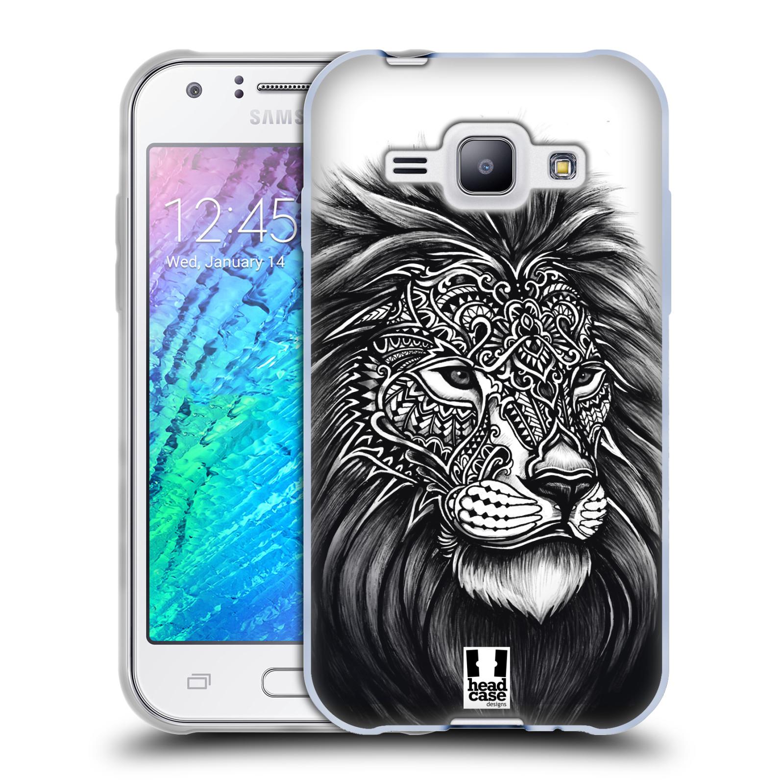 Silikonové pouzdro na mobil Samsung Galaxy J1 HEAD CASE Zdobený Lev (Silikonový kryt či obal na mobilní telefon Samsung Galaxy J1 a J1 Duos)