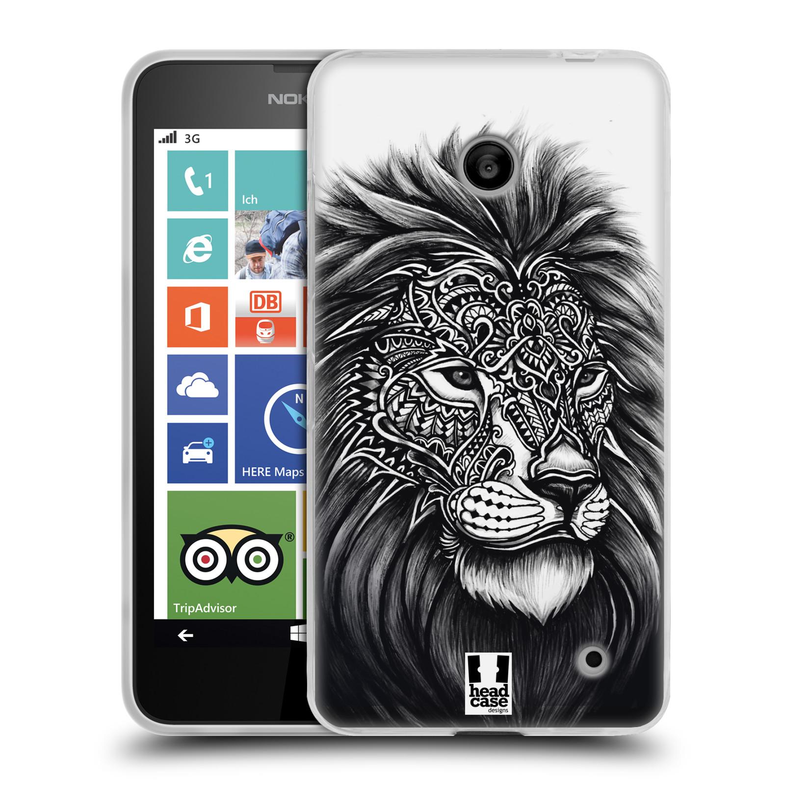 Silikonové pouzdro na mobil Nokia Lumia 630 HEAD CASE Zdobený Lev (Silikonový kryt či obal na mobilní telefon Nokia Lumia 630 a Nokia Lumia 630 Dual SIM)