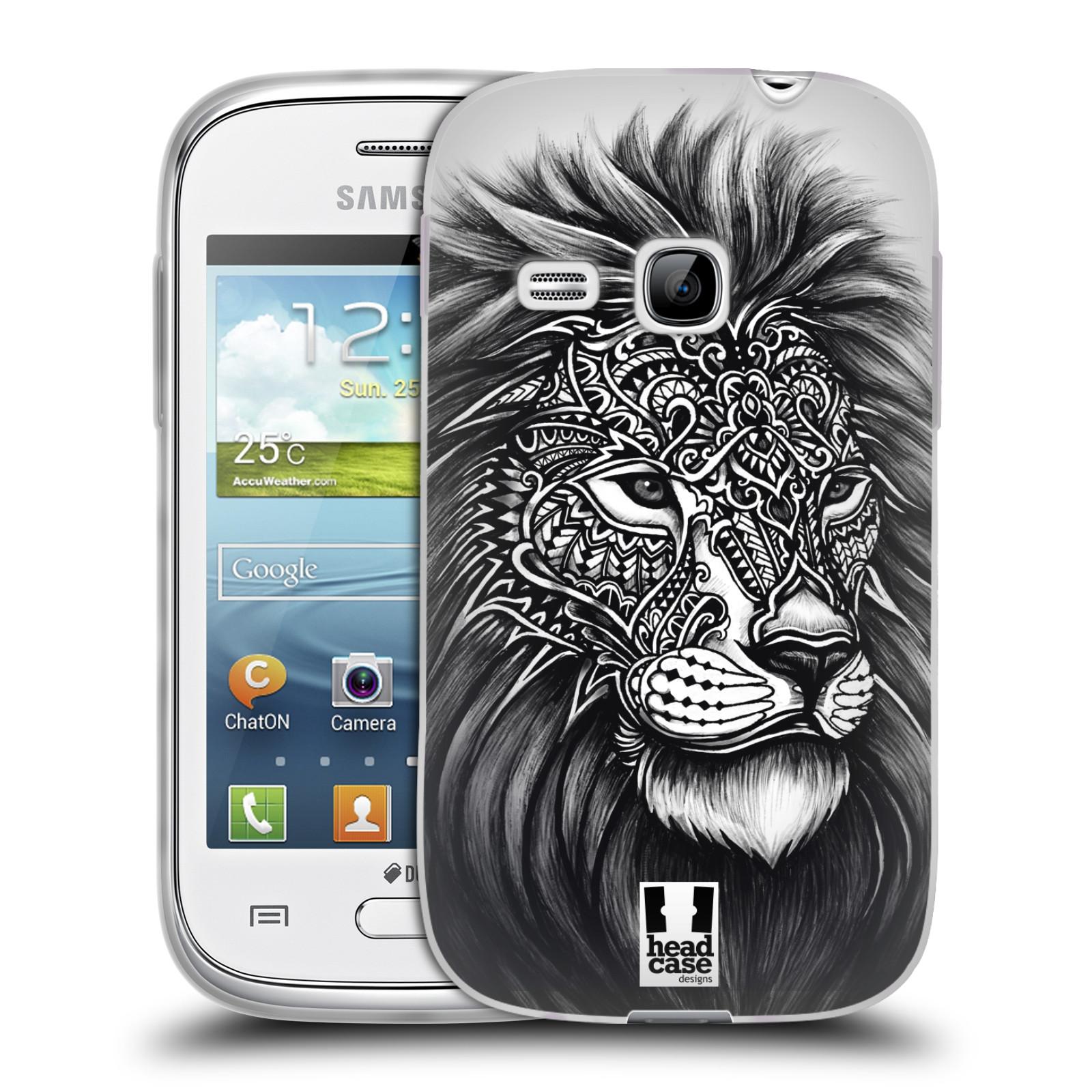Silikonové pouzdro na mobil Samsung Galaxy Young HEAD CASE Zdobený Lev (Silikonový kryt či obal na mobilní telefon Samsung Galaxy Young GT-S6310)