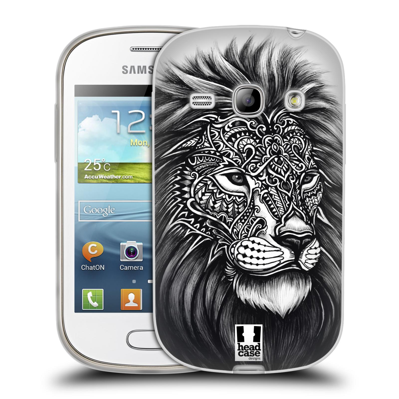 Silikonové pouzdro na mobil Samsung Galaxy Fame HEAD CASE Zdobený Lev (Silikonový kryt či obal na mobilní telefon Samsung Galaxy Fame GT-S6810)