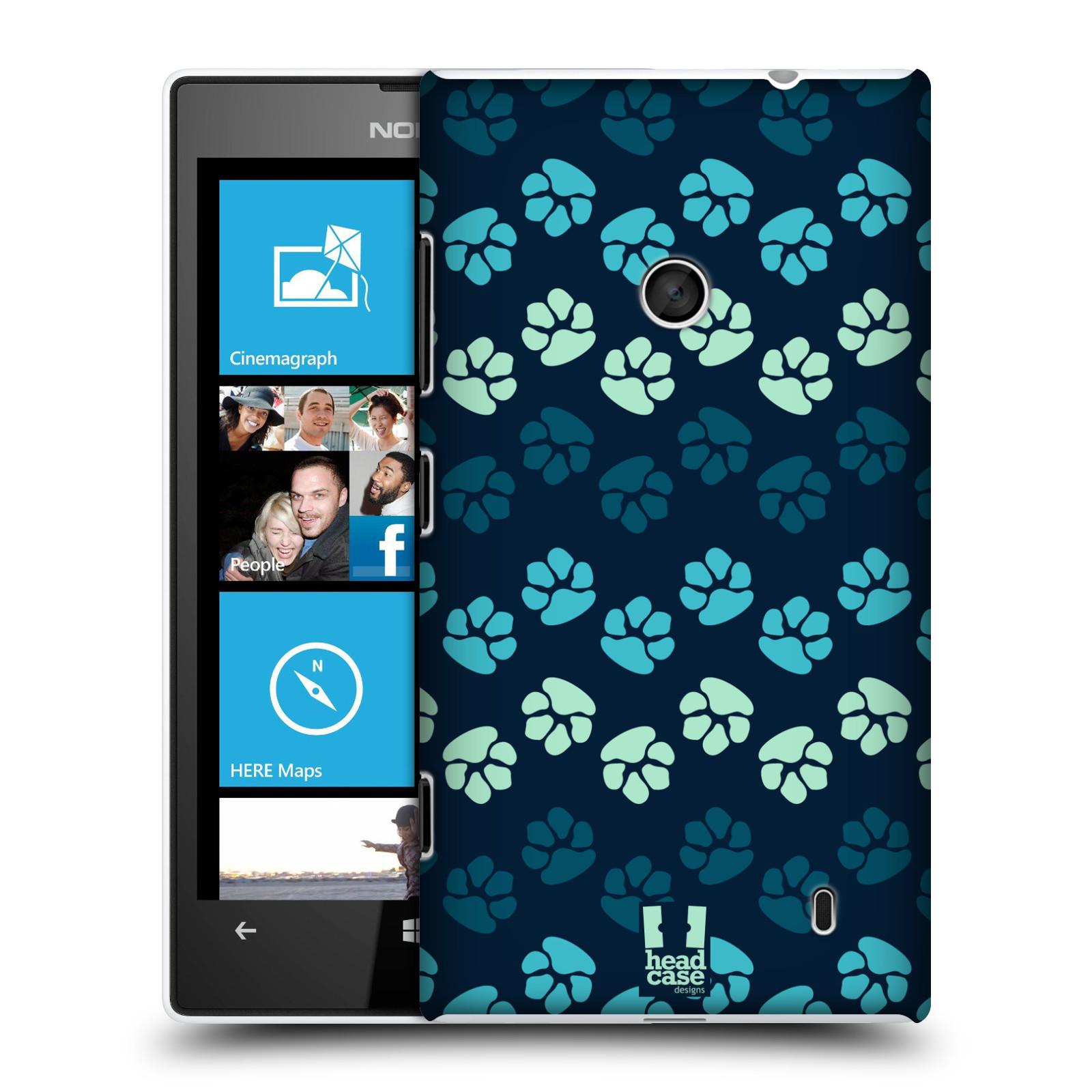 Plastové pouzdro na mobil Nokia Lumia 520 HEAD CASE TLAPKY MODRÉ (Kryt či obal na mobilní telefon Nokia Lumia 520 )