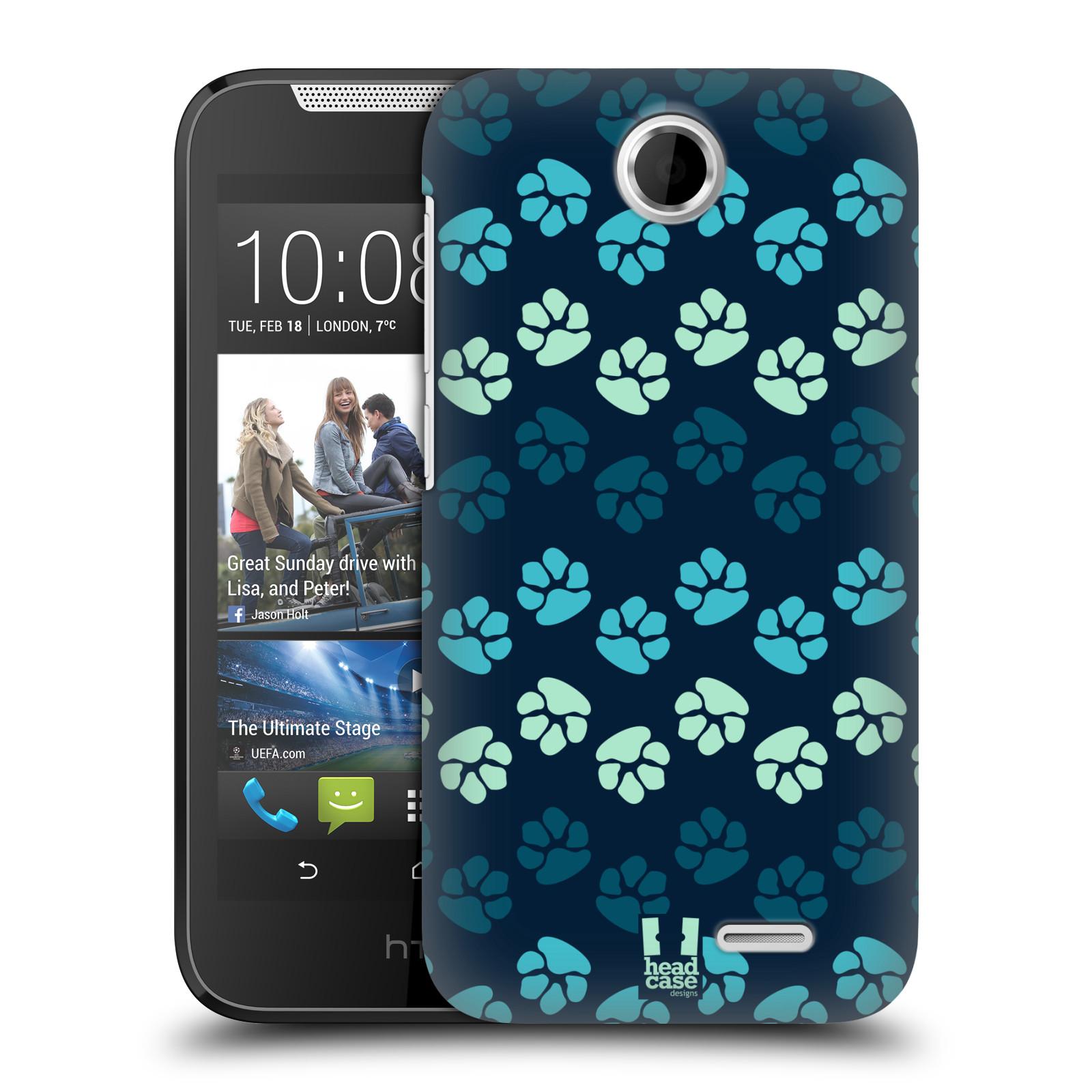 Plastové pouzdro na mobil HTC Desire 310 HEAD CASE TLAPKY MODRÉ (Kryt či obal na mobilní telefon HTC Desire 310)
