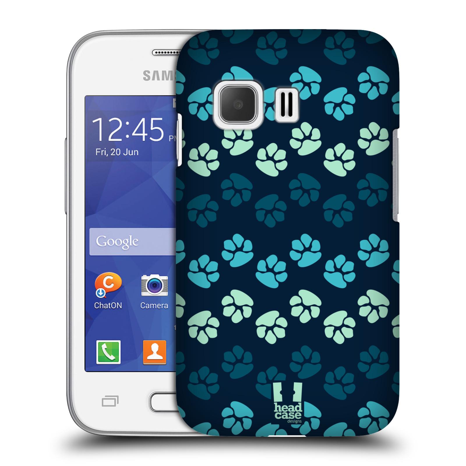 Plastové pouzdro na mobil Samsung Galaxy Young 2 HEAD CASE TLAPKY MODRÉ (Kryt či obal na mobilní telefon Samsung Galaxy Young 2 SM-G130)