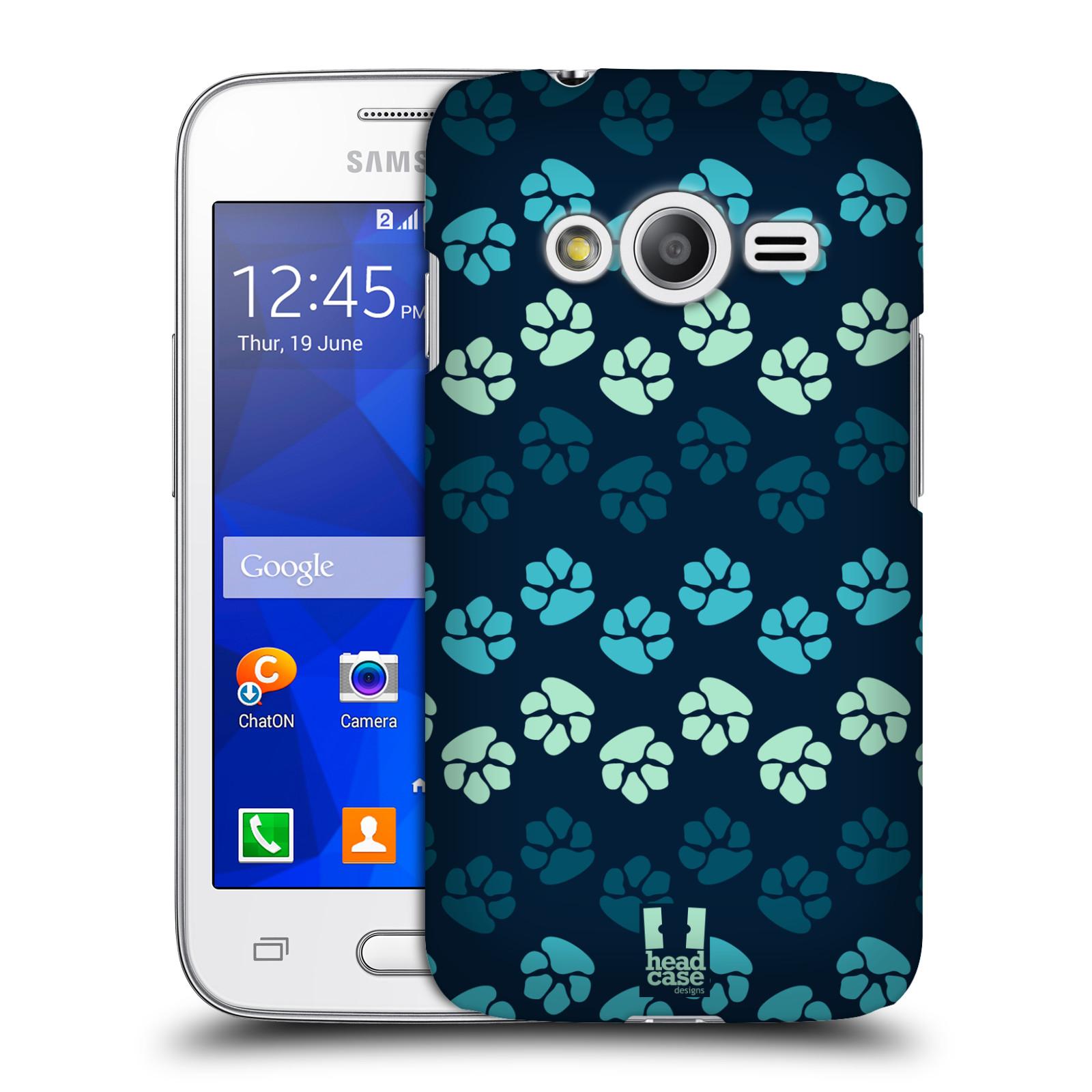 Plastové pouzdro na mobil Samsung Galaxy Trend 2 Lite HEAD CASE TLAPKY MODRÉ (Kryt či obal na mobilní telefon Samsung Galaxy Trend 2 Lite SM-G318)