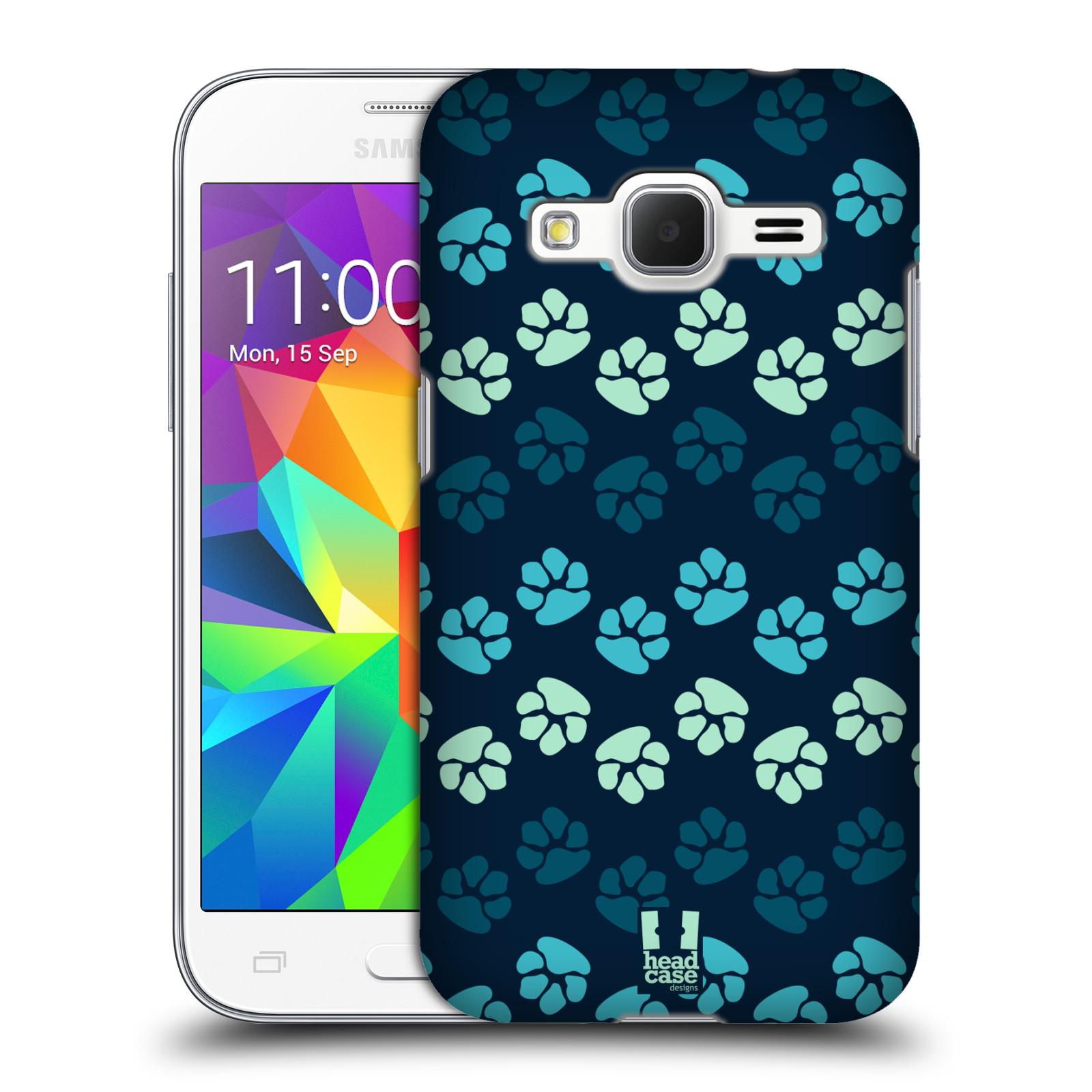 Plastové pouzdro na mobil Samsung Galaxy Core Prime LTE HEAD CASE TLAPKY MODRÉ