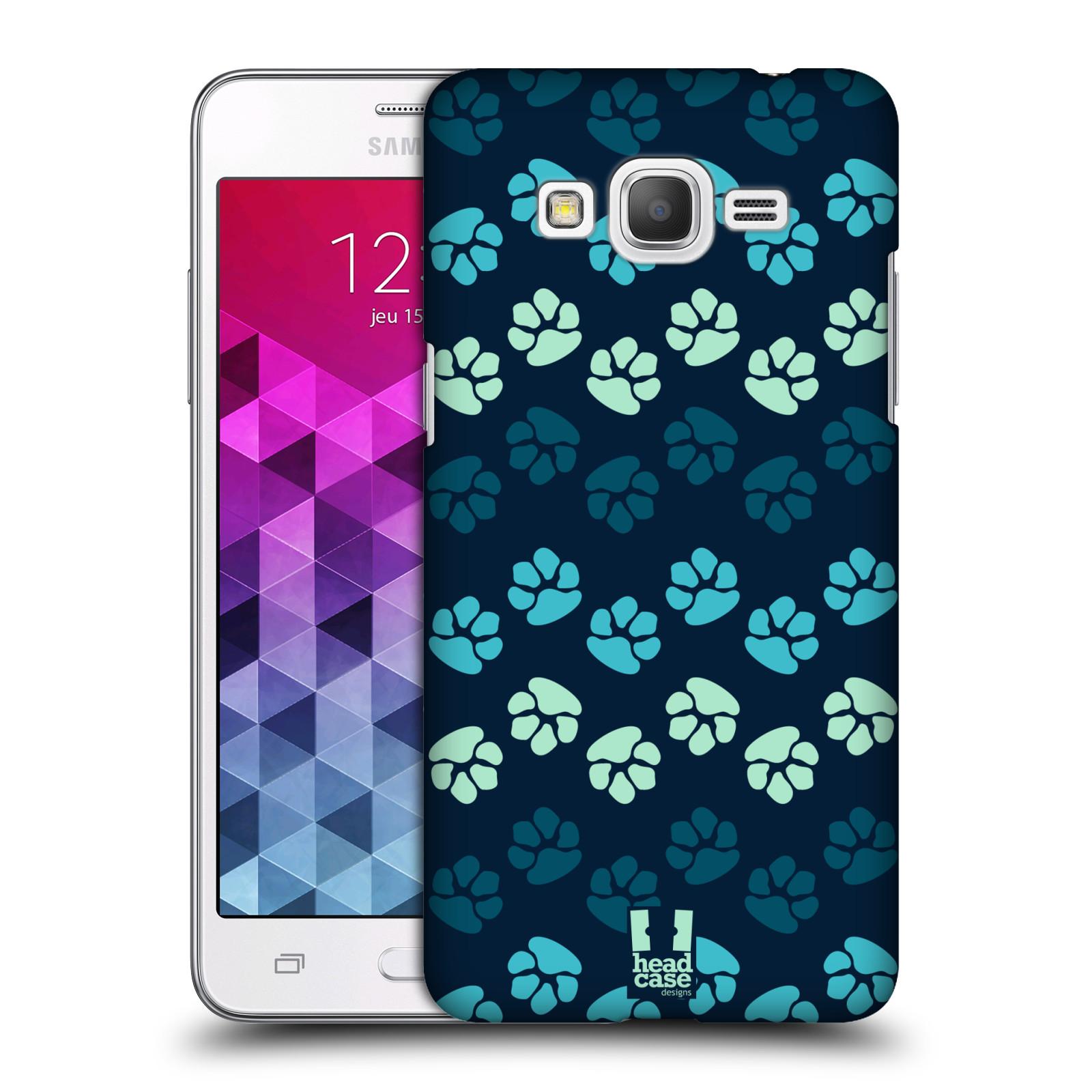 Plastové pouzdro na mobil Samsung Galaxy Grand Prime HEAD CASE TLAPKY MODRÉ (Kryt či obal na mobilní telefon Samsung Galaxy Grand Prime SM-G530)