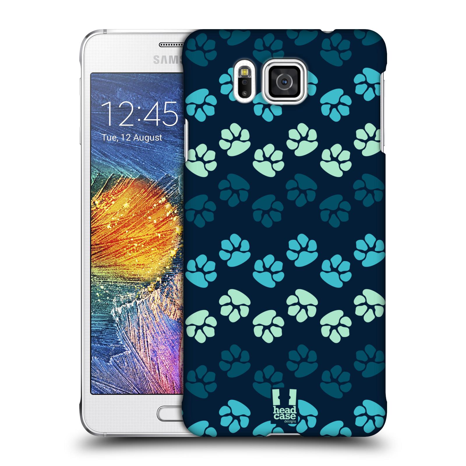 Plastové pouzdro na mobil Samsung Galaxy Alpha HEAD CASE TLAPKY MODRÉ (Kryt či obal na mobilní telefon Samsung Galaxy Alpha SM-G850)