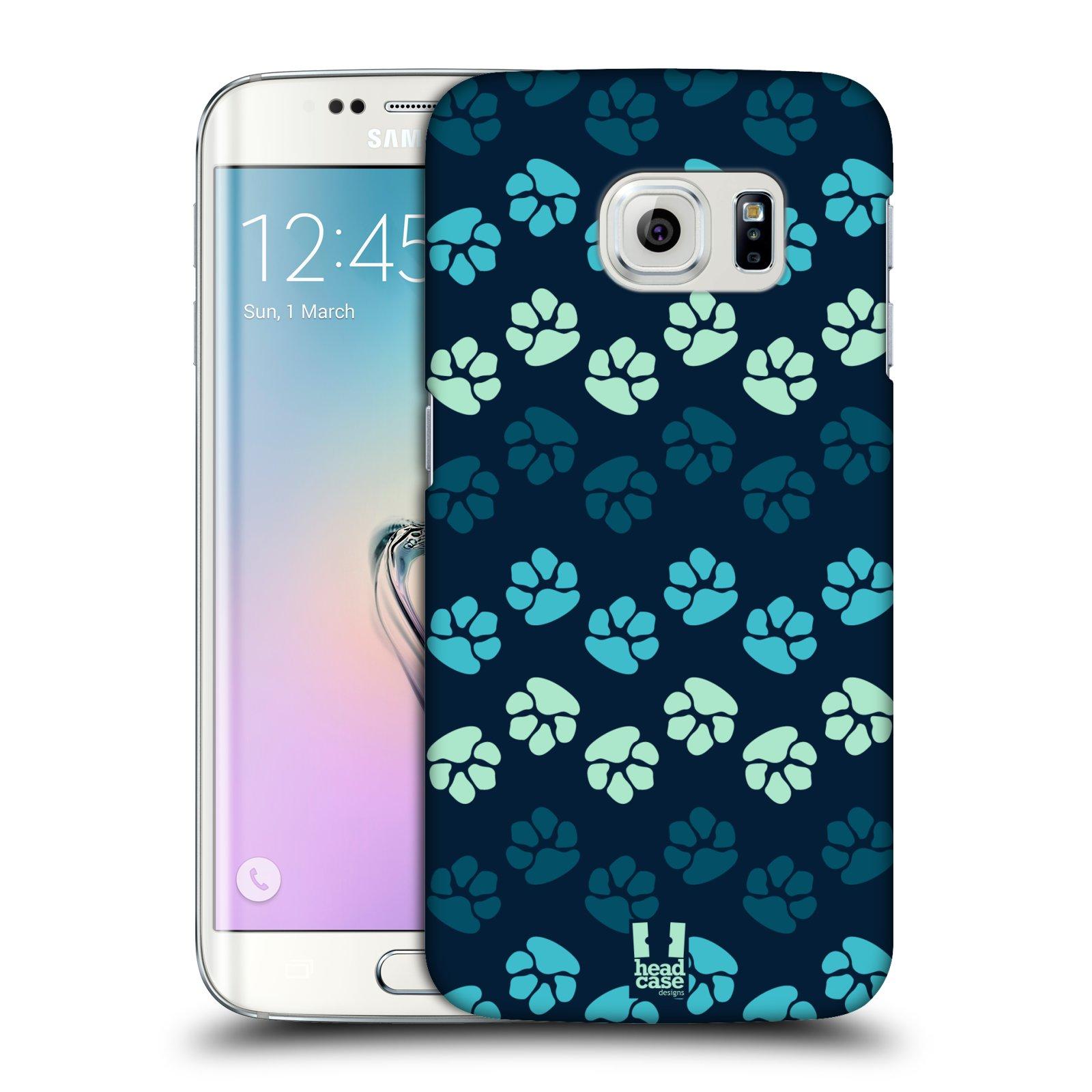 Plastové pouzdro na mobil Samsung Galaxy S6 Edge HEAD CASE TLAPKY MODRÉ (Kryt či obal na mobilní telefon Samsung Galaxy S6 Edge SM-G925F)