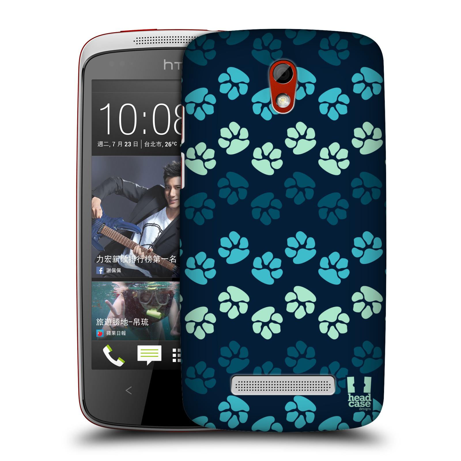 Plastové pouzdro na mobil HTC Desire 500 HEAD CASE TLAPKY MODRÉ (Kryt či obal na mobilní telefon HTC Desire 500)