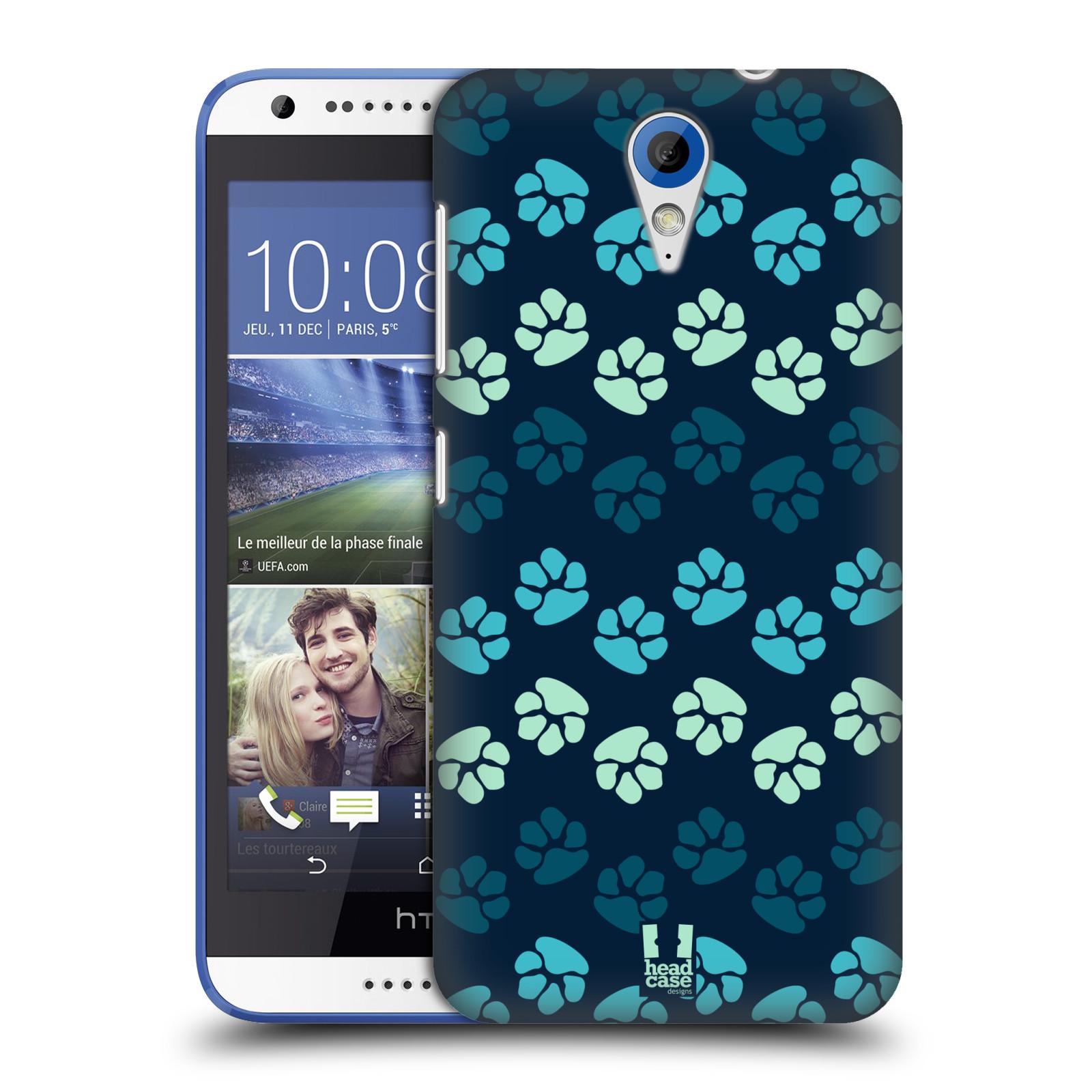 Plastové pouzdro na mobil HTC Desire 620 HEAD CASE TLAPKY MODRÉ (Kryt či obal na mobilní telefon HTC Desire 620)