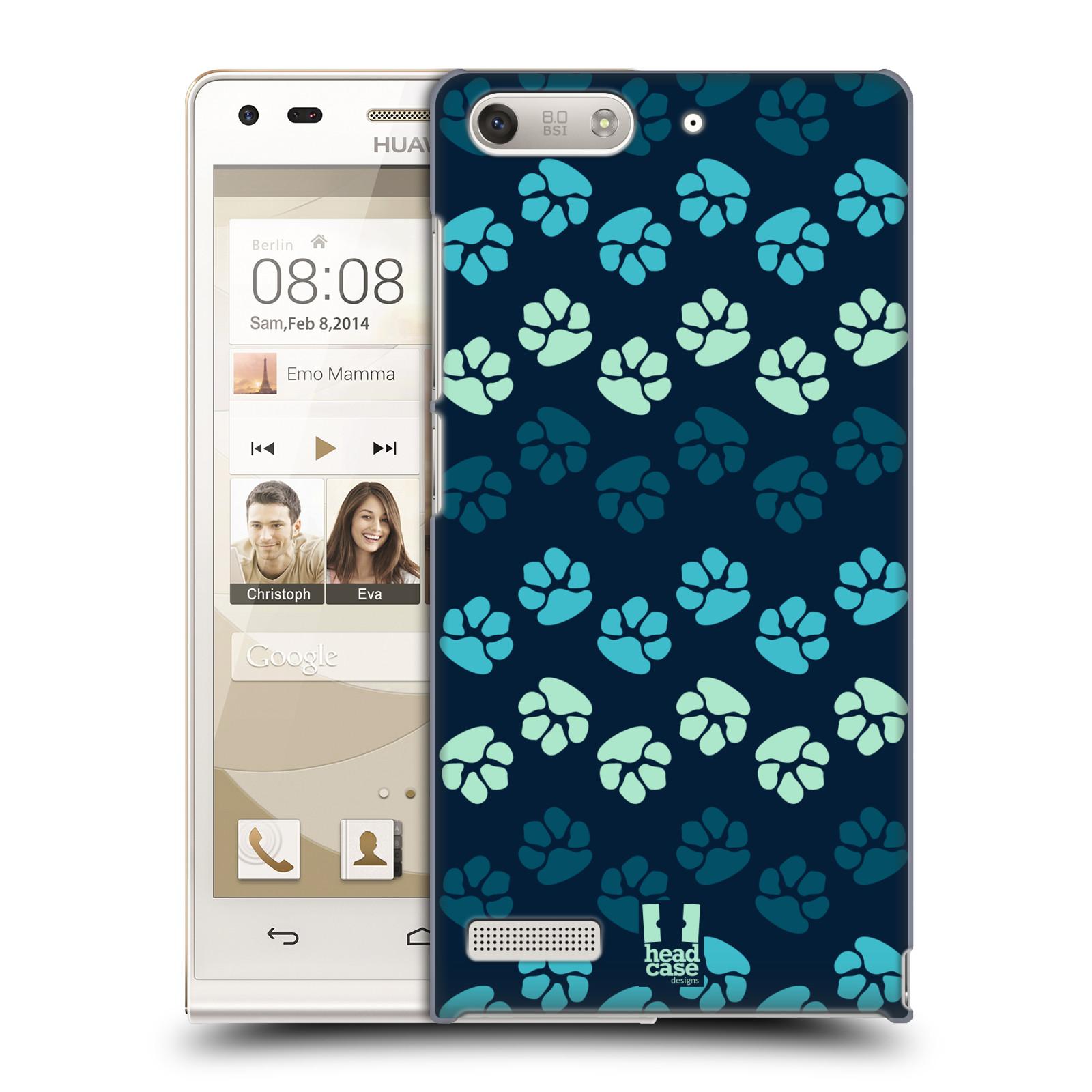 Plastové pouzdro na mobil Huawei Ascend G6 HEAD CASE TLAPKY MODRÉ (Kryt či obal na mobilní telefon Huawei Ascend G6 bez LTE)