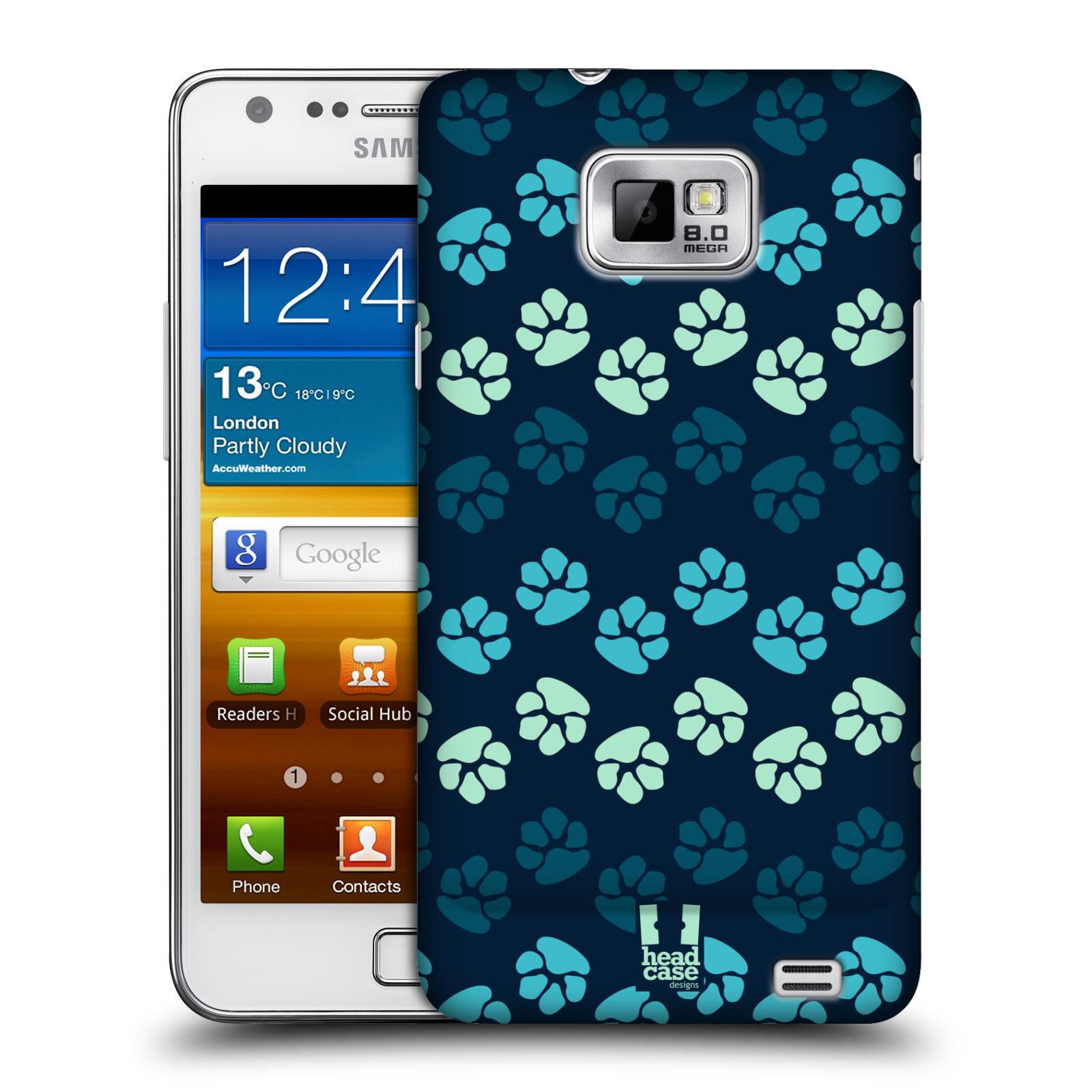 Plastové pouzdro na mobil Samsung Galaxy S II HEAD CASE TLAPKY MODRÉ (Kryt či obal na mobilní telefon Samsung Galaxy S II GT-i9100)