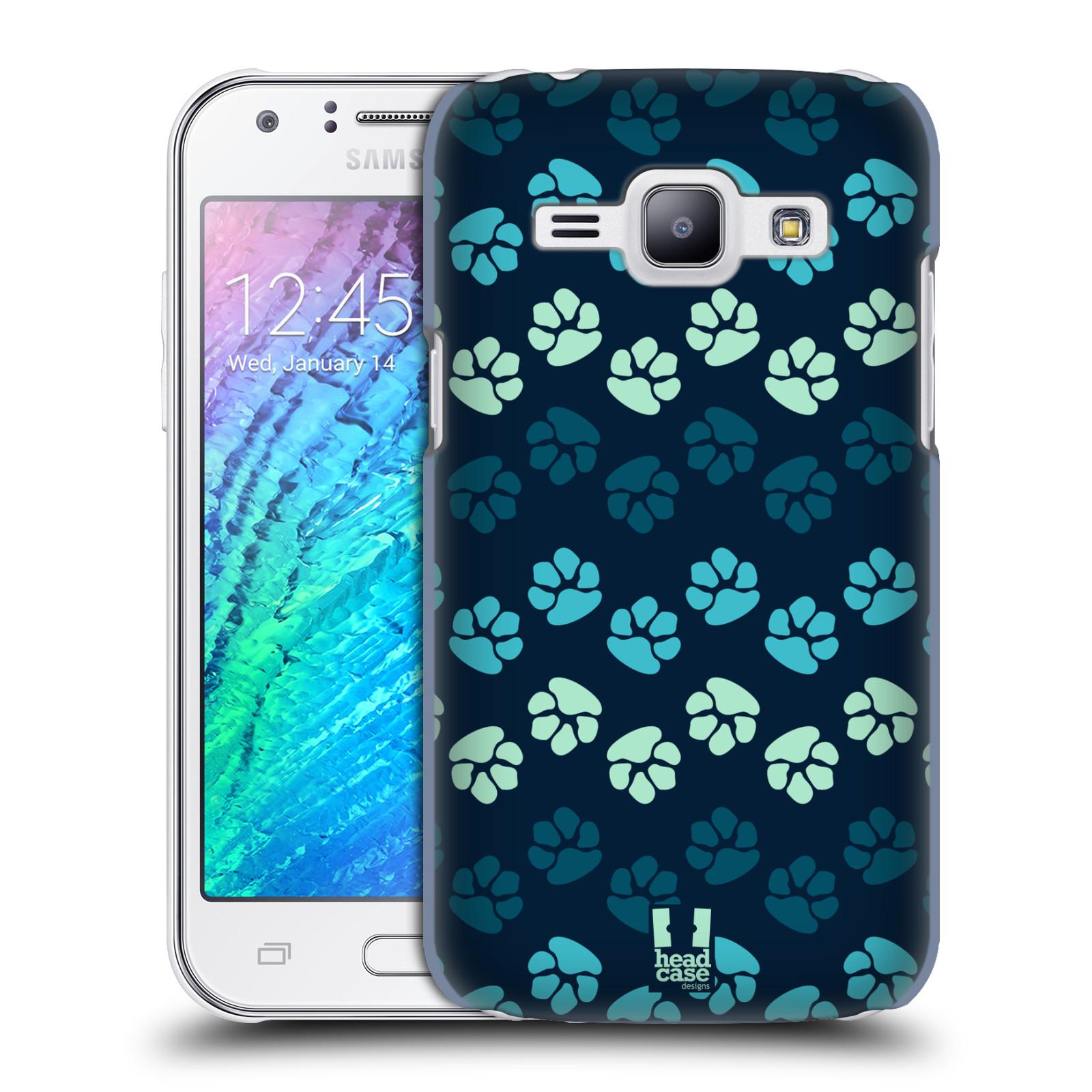 Plastové pouzdro na mobil Samsung Galaxy J1 HEAD CASE TLAPKY MODRÉ (Kryt či obal na mobilní telefon Samsung Galaxy J1 a J1 Duos )