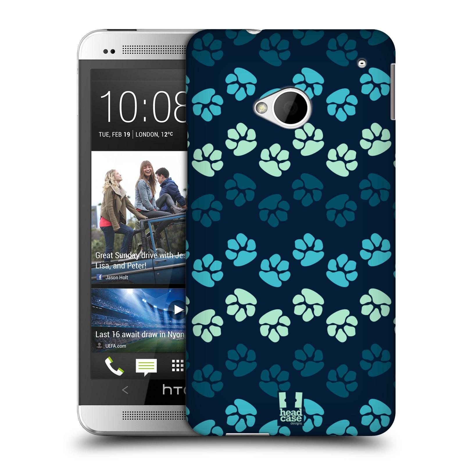 Plastové pouzdro na mobil HTC ONE M7 HEAD CASE TLAPKY MODRÉ (Kryt či obal na mobilní telefon HTC ONE M7)