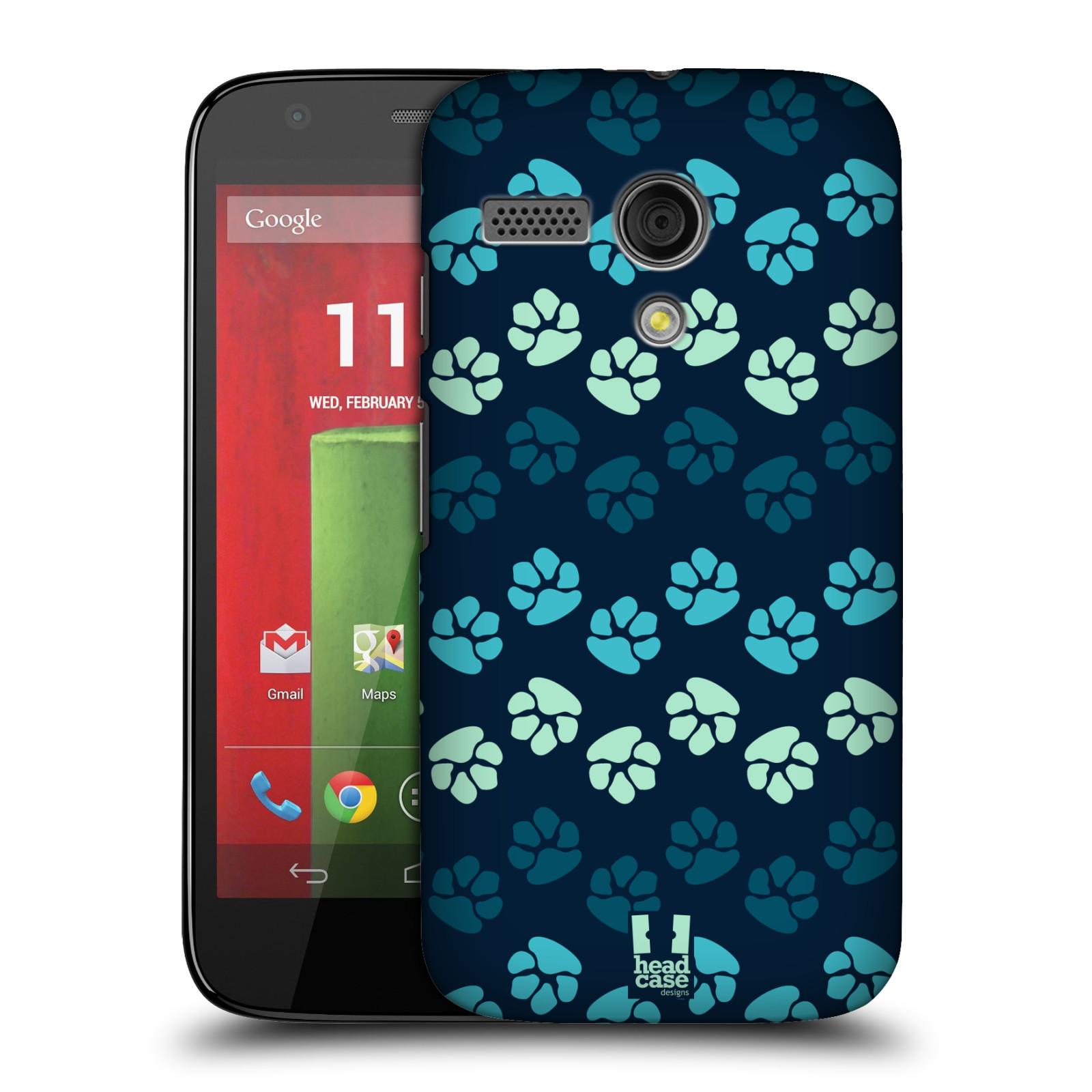 Plastové pouzdro na mobil Motorola Moto G HEAD CASE TLAPKY MODRÉ (Kryt či obal na mobilní telefon Motorola Moto G)