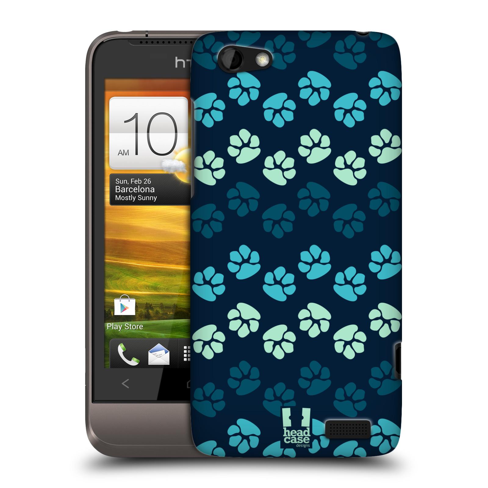 Plastové pouzdro na mobil HTC ONE V HEAD CASE TLAPKY MODRÉ (Kryt či obal na mobilní telefon HTC ONE V)