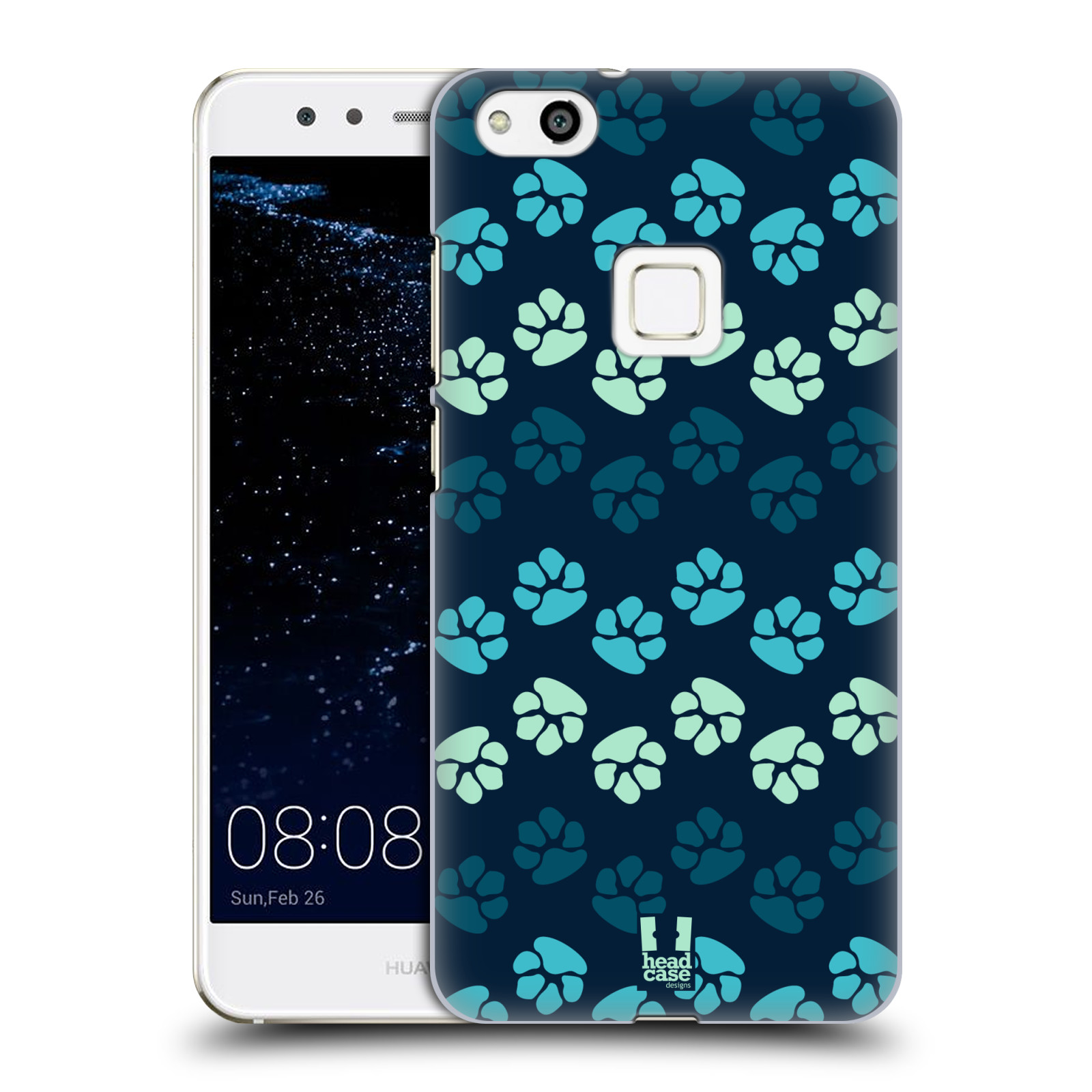 Plastové pouzdro na mobil Huawei P10 Lite Head Case - TLAPKY MODRÉ (Plastový kryt či obal na mobilní telefon Huawei P10 Lite Dual SIM (LX1/LX1A))