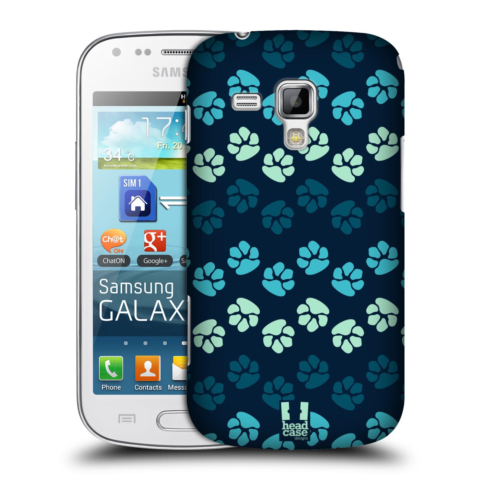 Plastové pouzdro na mobil Samsung Galaxy S Duos HEAD CASE TLAPKY MODRÉ (Kryt či obal na mobilní telefon Samsung Galaxy S Duos GT-S7562)