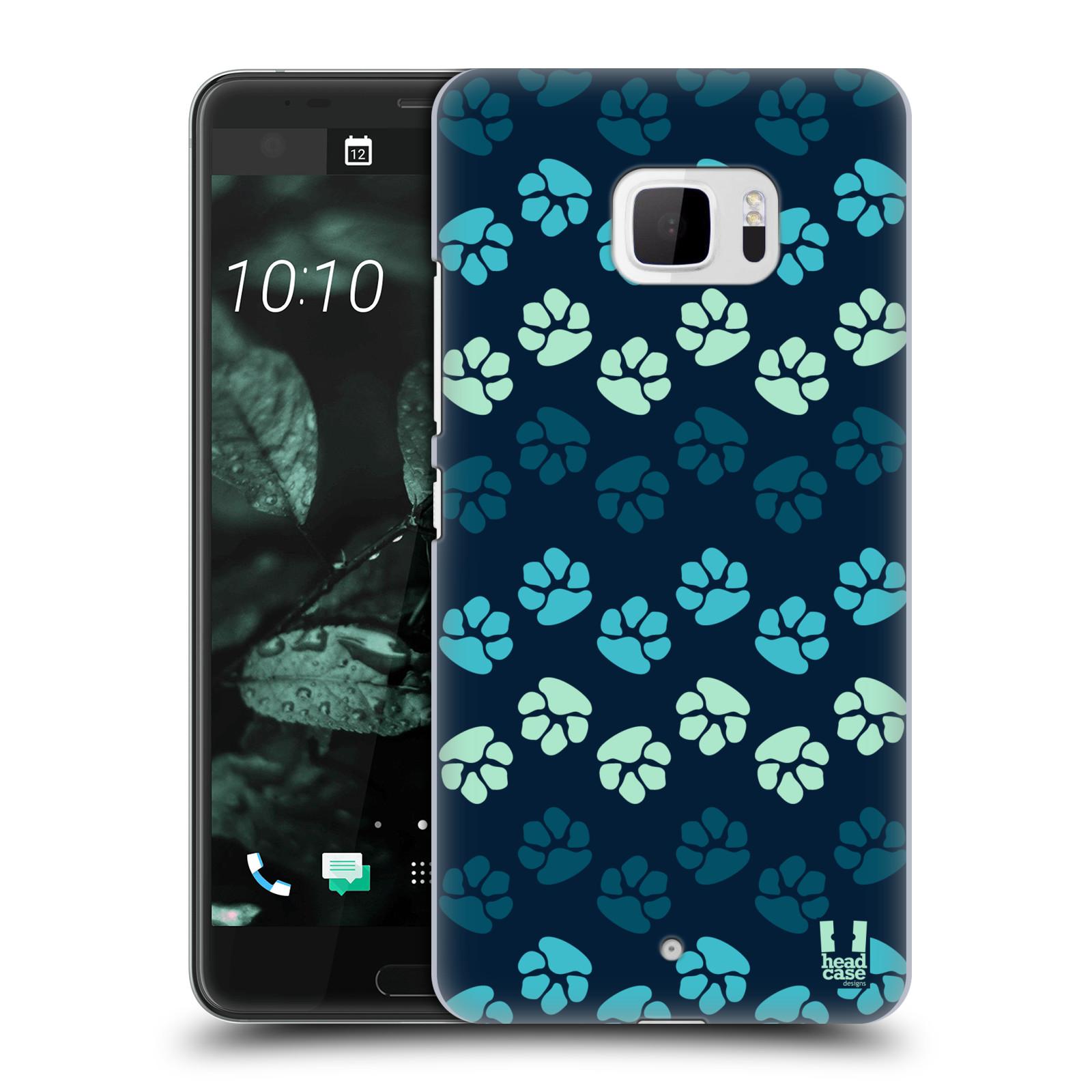 Plastové pouzdro na mobil HTC U Ultra Head Case - TLAPKY MODRÉ (Plastový kryt či obal na mobilní telefon HTC U Ultra (99HALT015-00))