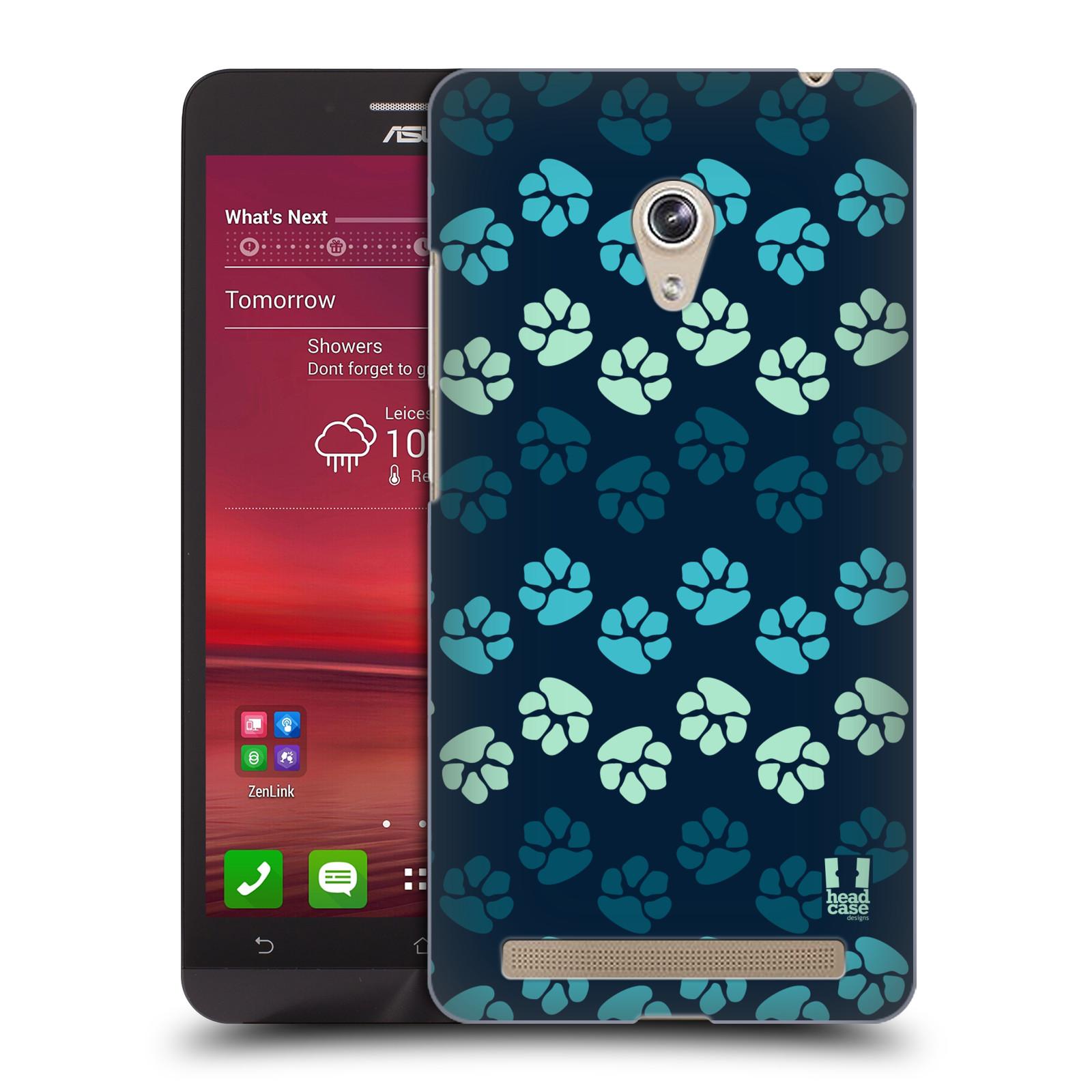 Plastové pouzdro na mobil Asus Zenfone 6 HEAD CASE TLAPKY MODRÉ (Kryt či obal na mobilní telefon Asus Zenfone 6 A600CG / A601CG)