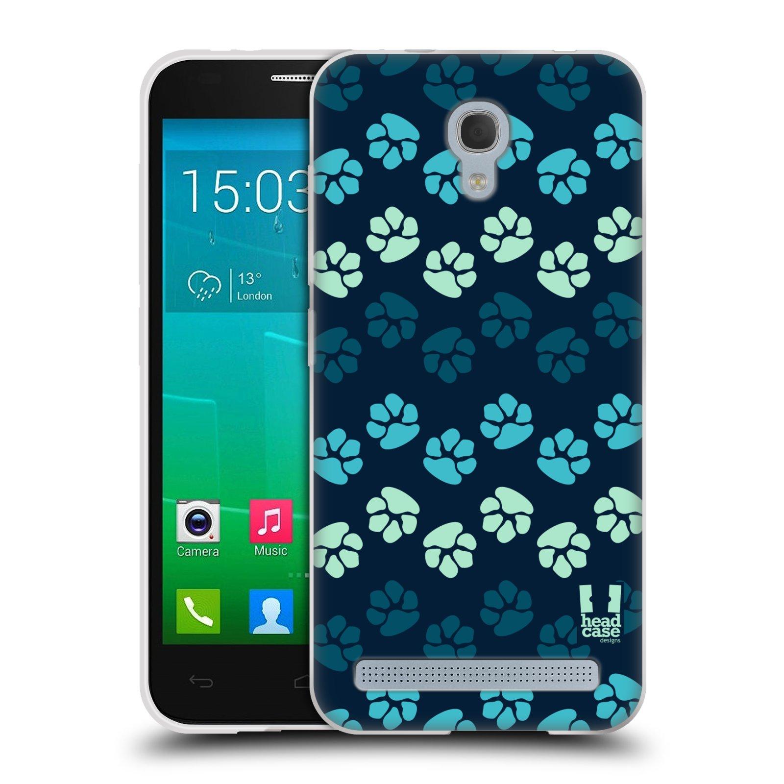 Silikonové pouzdro na mobil Alcatel One Touch Idol 2 Mini S 6036Y HEAD CASE TLAPKY MODRÉ (Silikonový kryt či obal na mobilní telefon Alcatel Idol 2 Mini S OT-6036Y)
