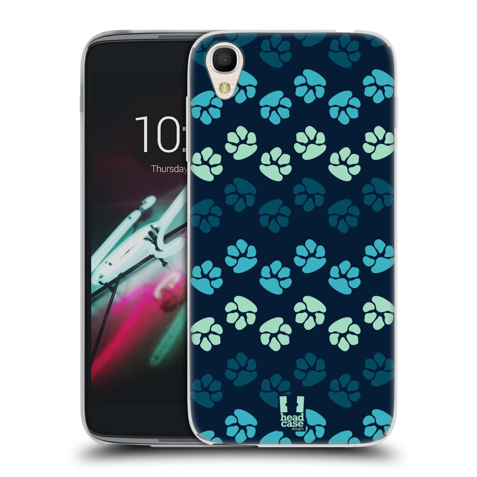 "Silikonové pouzdro na mobil Alcatel One Touch 6039Y Idol 3 HEAD CASE TLAPKY MODRÉ (Silikonový kryt či obal na mobilní telefon Alcatel One Touch Idol 3 OT-6039Y s 4,7"" displejem)"