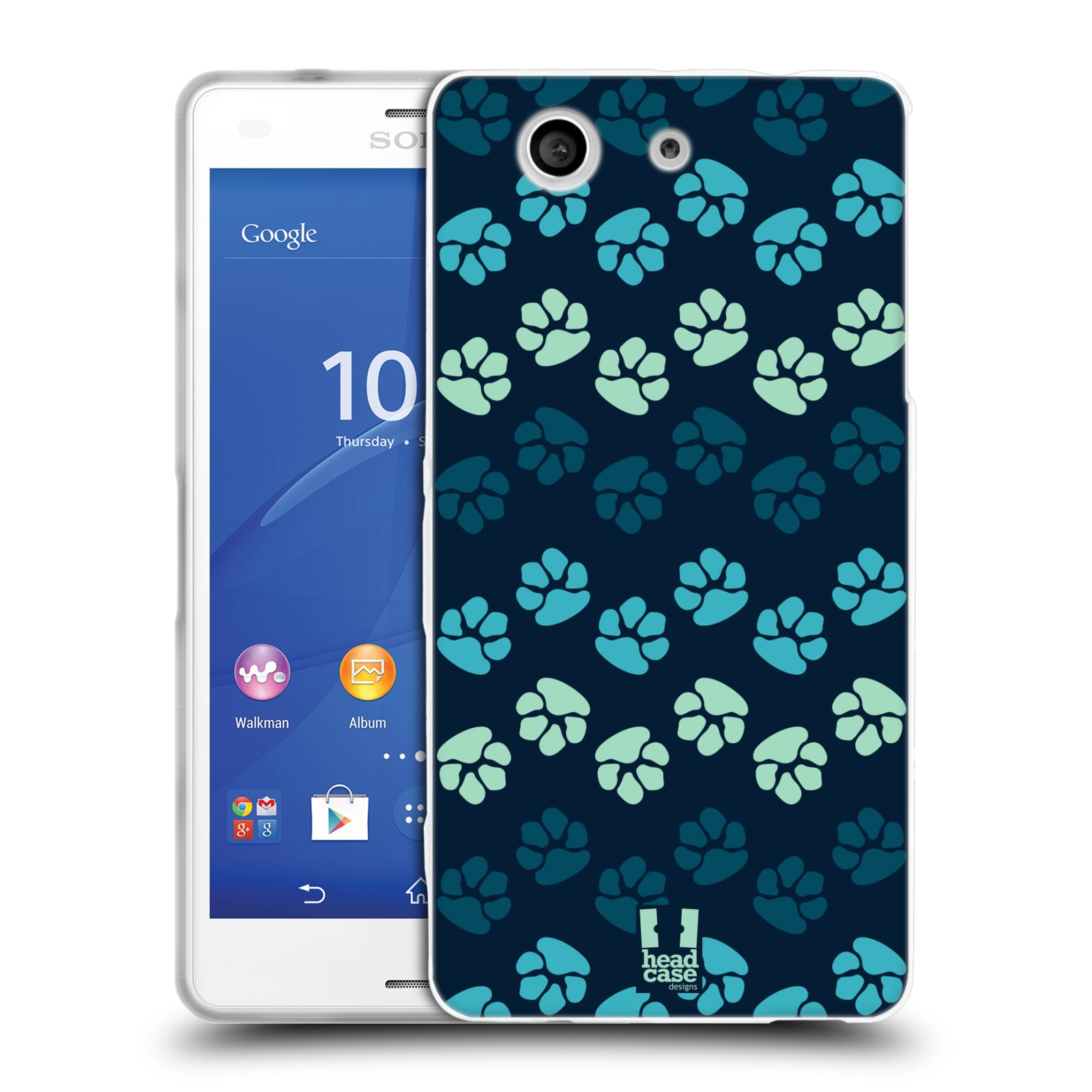 Silikonové pouzdro na mobil Sony Xperia Z3 Compact D5803 HEAD CASE TLAPKY MODRÉ (Silikonový kryt či obal na mobilní telefon Sony Xperia Z3 Compact)