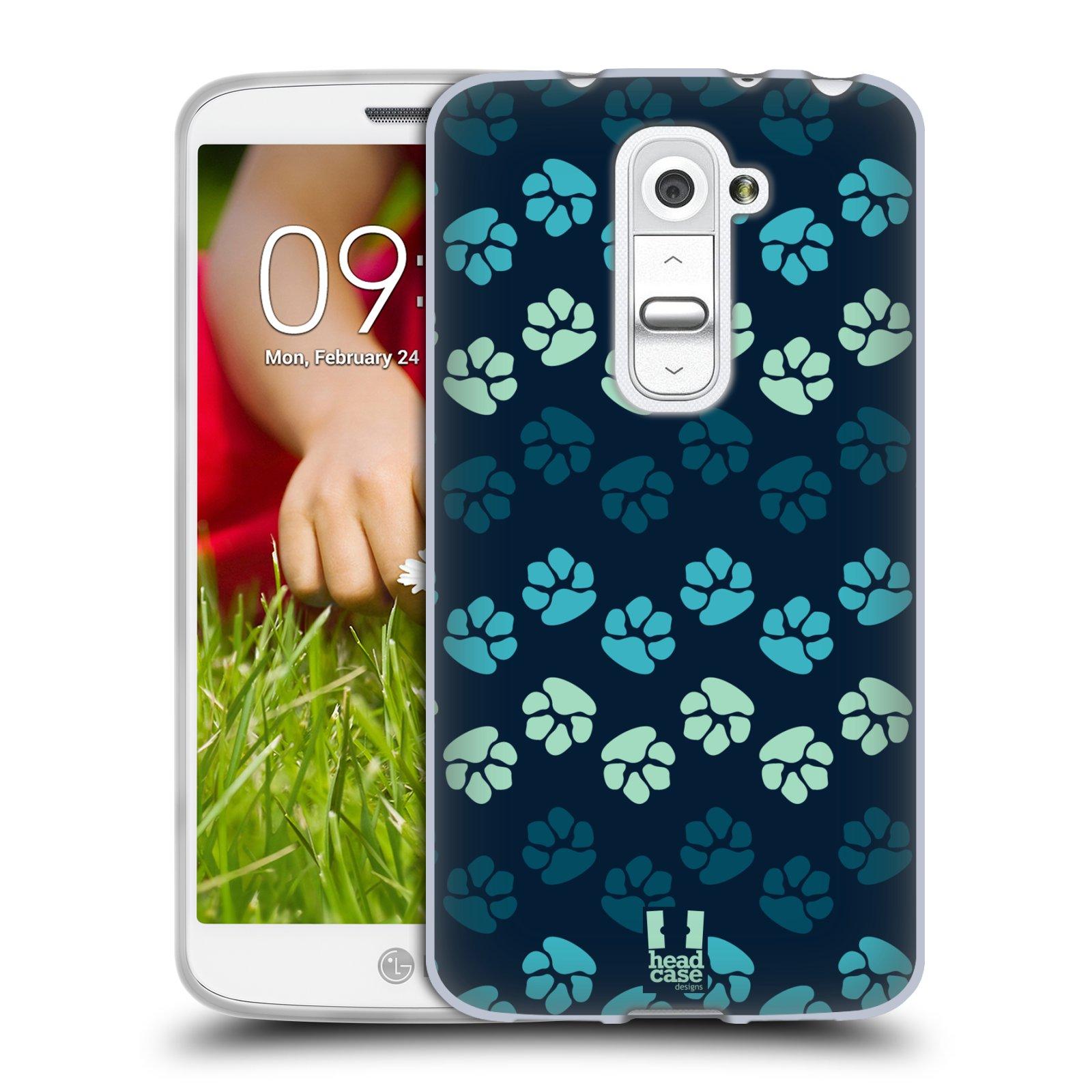 Silikonové pouzdro na mobil LG G2 Mini HEAD CASE TLAPKY MODRÉ (Silikonový kryt či obal na mobilní telefon LG G2 Mini D620)