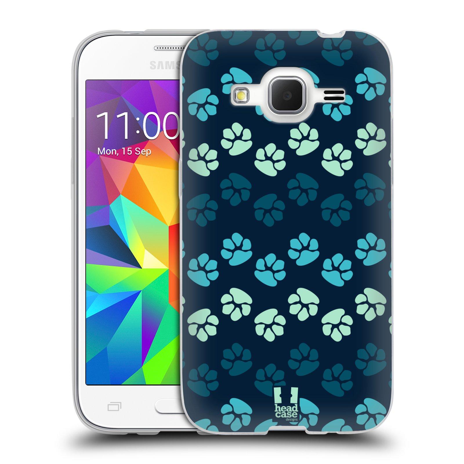 Silikonové pouzdro na mobil Samsung Galaxy Core Prime LTE HEAD CASE TLAPKY MODRÉ (Silikonový kryt či obal na mobilní telefon Samsung Galaxy Core Prime LTE SM-G360)