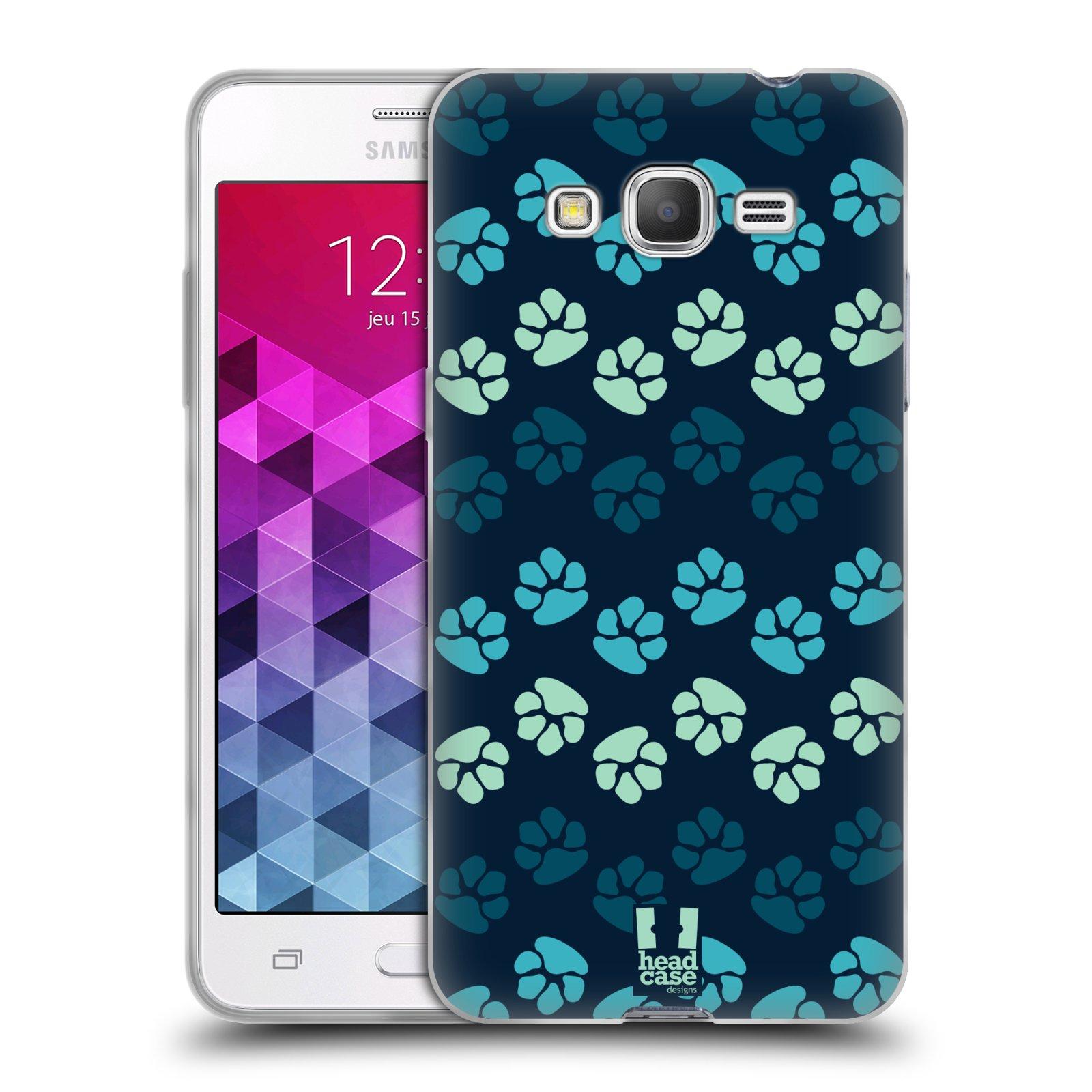 Silikonové pouzdro na mobil Samsung Galaxy Grand Prime VE HEAD CASE TLAPKY MODRÉ (Silikonový kryt či obal na mobilní telefon Samsung Galaxy Grand Prime VE SM-G531F)