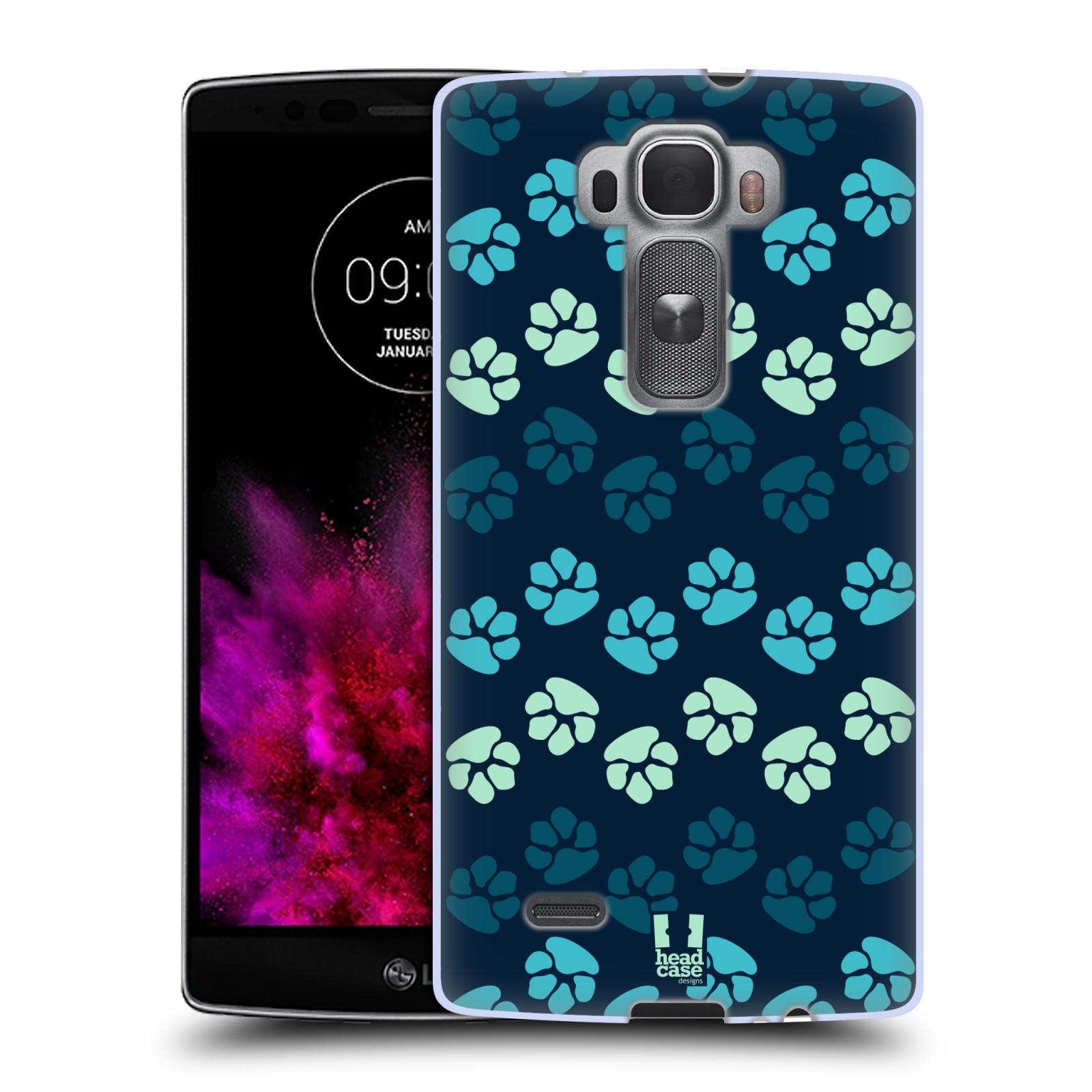 Silikonové pouzdro na mobil LG G Flex 2 HEAD CASE TLAPKY MODRÉ (Silikonový kryt či obal na mobilní telefon LG G Flex 2 H955)