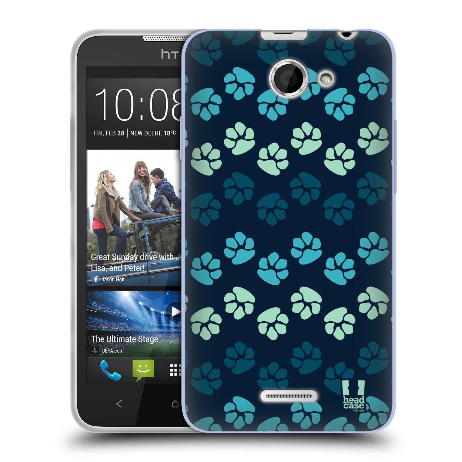 Silikonové pouzdro na mobil HTC Desire 516 HEAD CASE TLAPKY MODRÉ (Silikonový kryt či obal na mobilní telefon HTC Desire 516 Dual SIM)