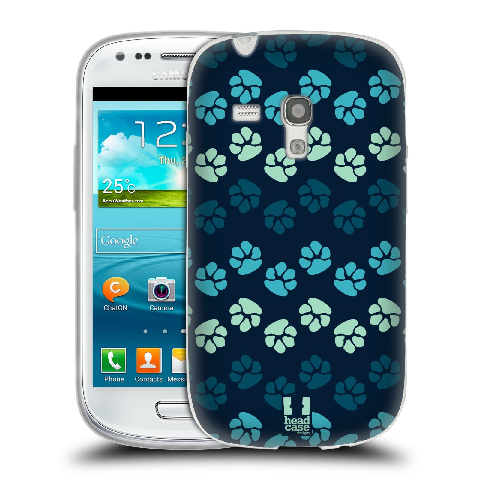 Silikonové pouzdro na mobil Samsung Galaxy S III Mini HEAD CASE TLAPKY MODRÉ (Silikonový kryt či obal na mobilní telefon Samsung Galaxy S III Mini GT-i8190)