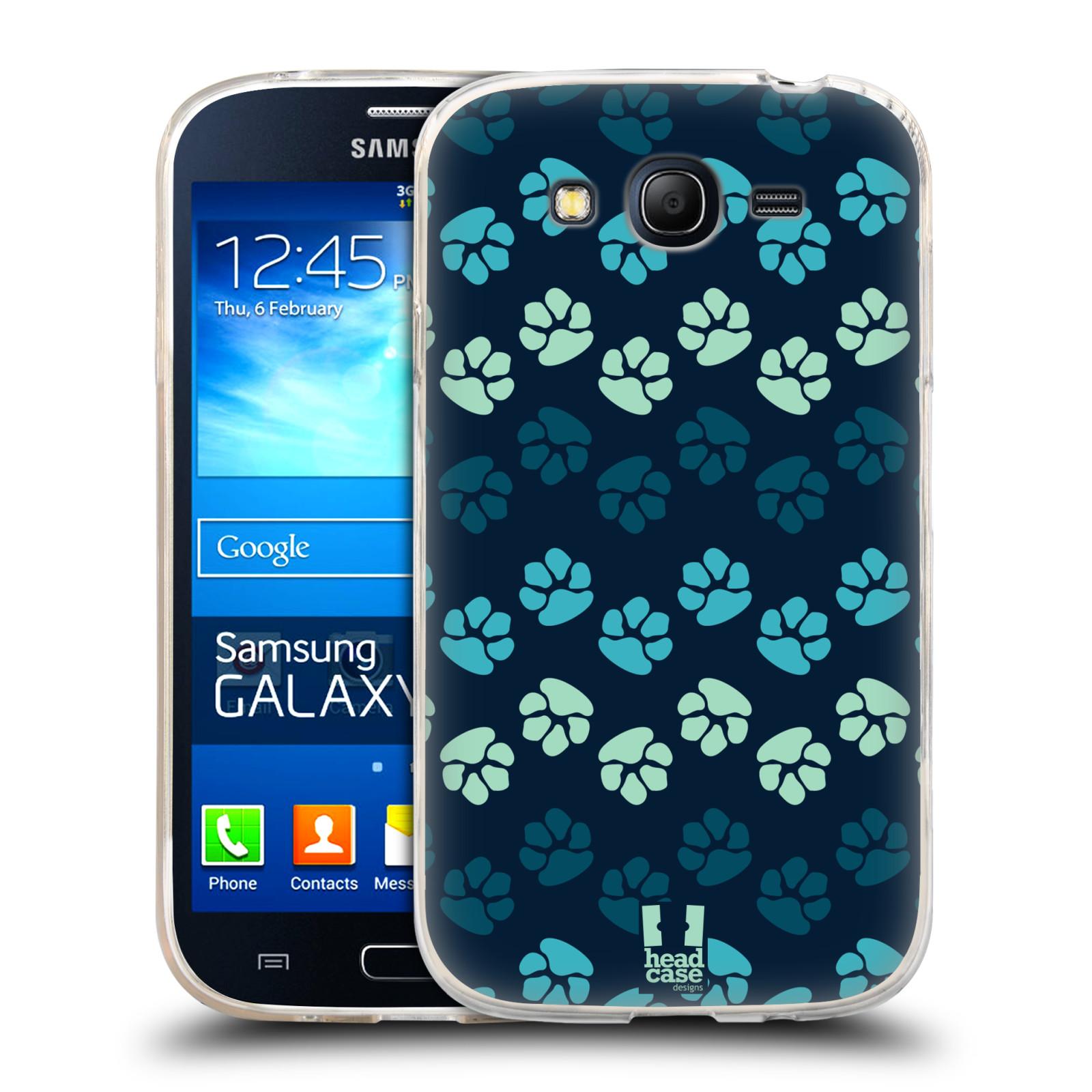 Silikonové pouzdro na mobil Samsung Galaxy Grand Neo HEAD CASE TLAPKY MODRÉ (Silikonový kryt či obal na mobilní telefon Samsung Galaxy Grand Neo GT-I9060)