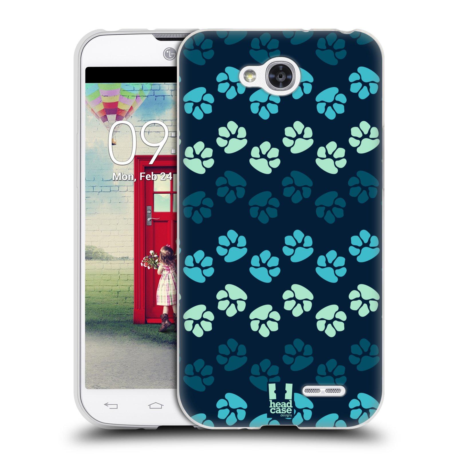 Silikonové pouzdro na mobil LG L90 HEAD CASE TLAPKY MODRÉ (Silikonový kryt či obal na mobilní telefon LG L90 D405n)