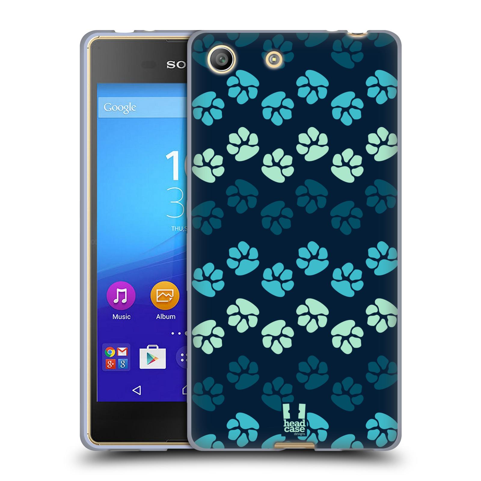 Silikonové pouzdro na mobil Sony Xperia M5 HEAD CASE TLAPKY MODRÉ (Silikonový kryt či obal na mobilní telefon Sony Xperia M5 Dual SIM / Aqua)