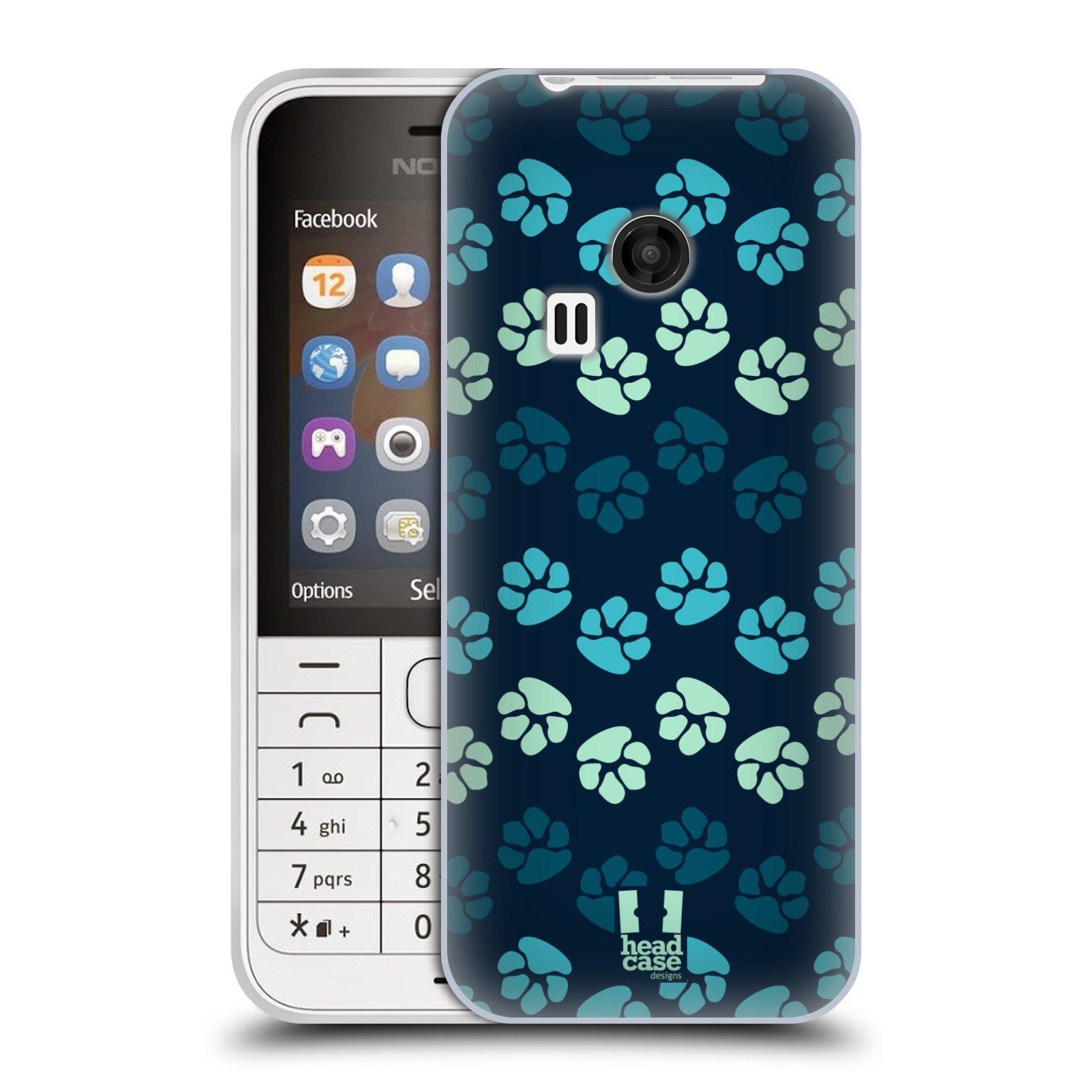 Silikonové pouzdro na mobil Nokia 220 HEAD CASE TLAPKY MODRÉ (Silikonový kryt či obal na mobilní telefon Nokia 220 a 220 Dual SIM)