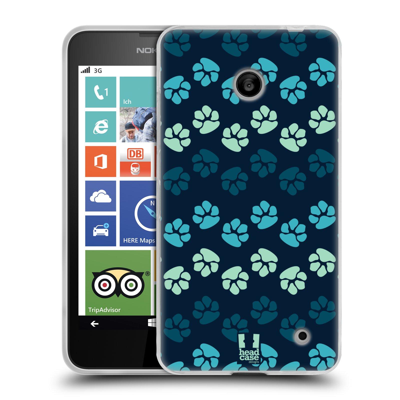 Silikonové pouzdro na mobil Nokia Lumia 630 HEAD CASE TLAPKY MODRÉ (Silikonový kryt či obal na mobilní telefon Nokia Lumia 630 a Nokia Lumia 630 Dual SIM)