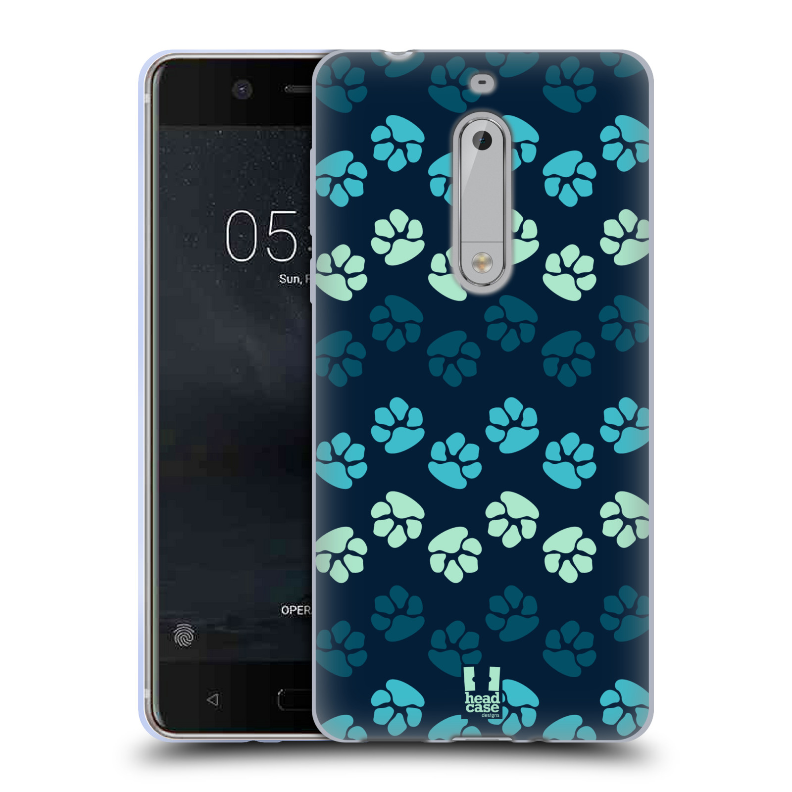 Silikonové pouzdro na mobil Nokia 5 Head Case - TLAPKY MODRÉ