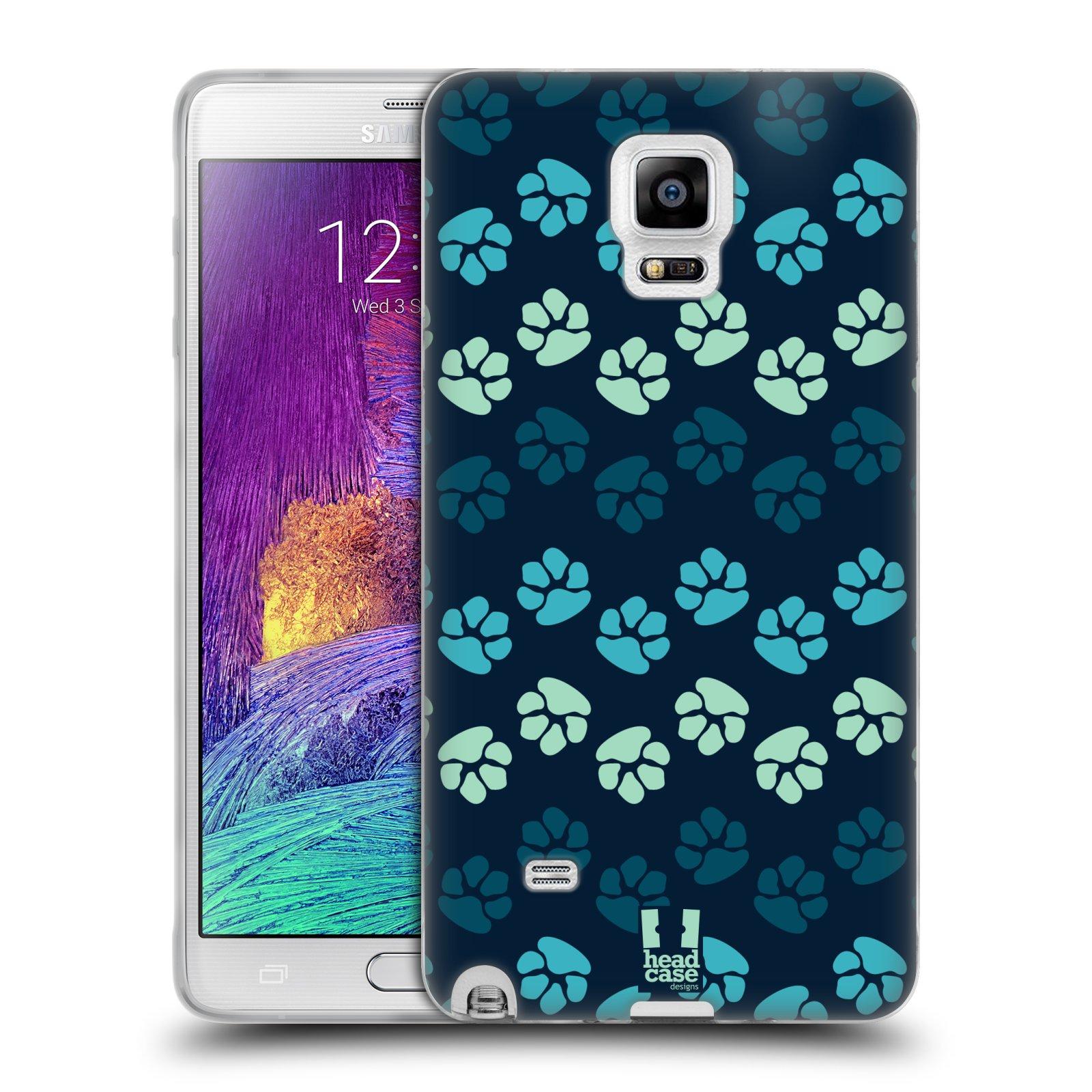 Silikonové pouzdro na mobil Samsung Galaxy Note 4 HEAD CASE TLAPKY MODRÉ (Silikonový kryt či obal na mobilní telefon Samsung Galaxy Note 4 SM-N910F)