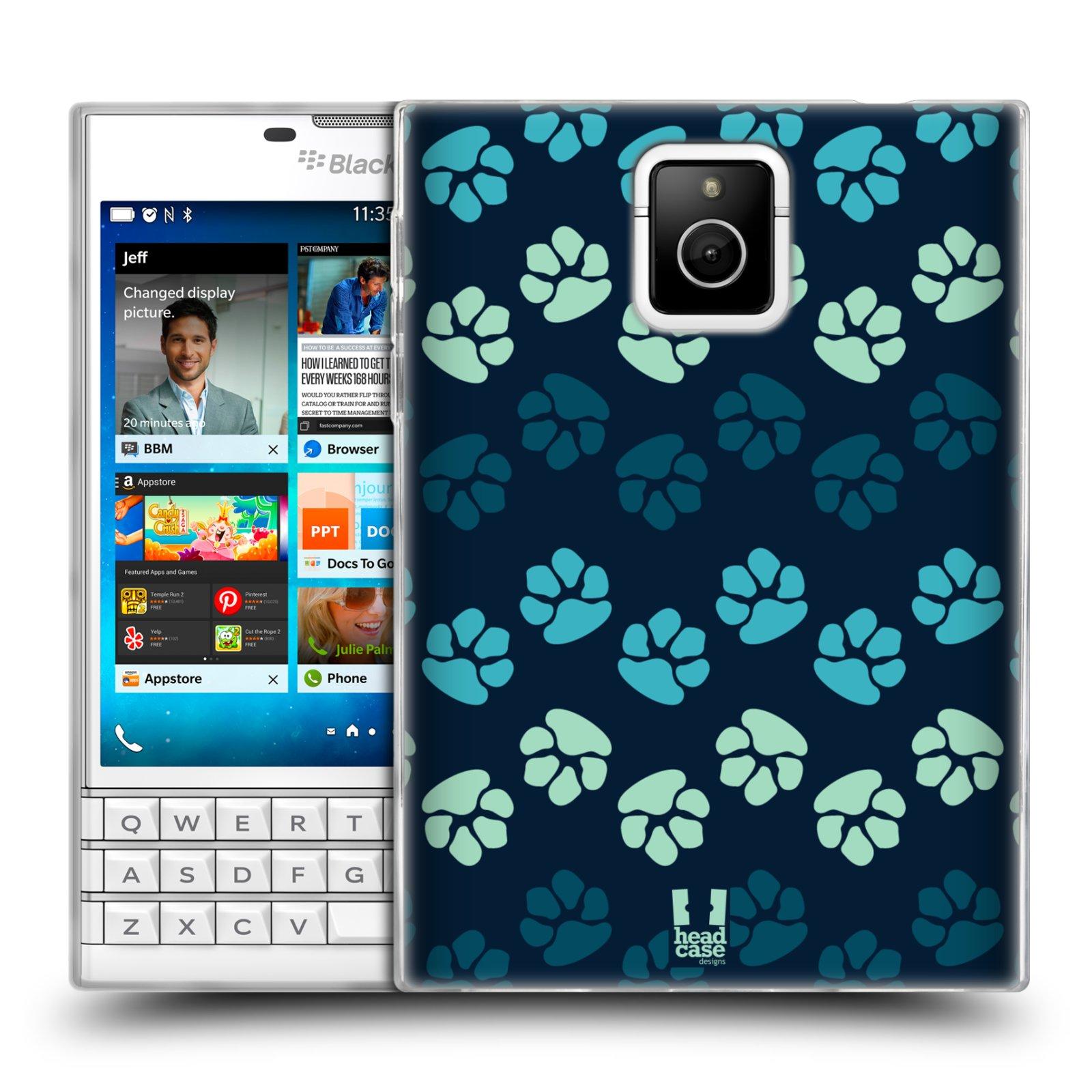 Silikonové pouzdro na mobil Blackberry PASSPORT HEAD CASE TLAPKY MODRÉ (Silikonový kryt či obal na mobilní telefon Blackberry PASSPORT)