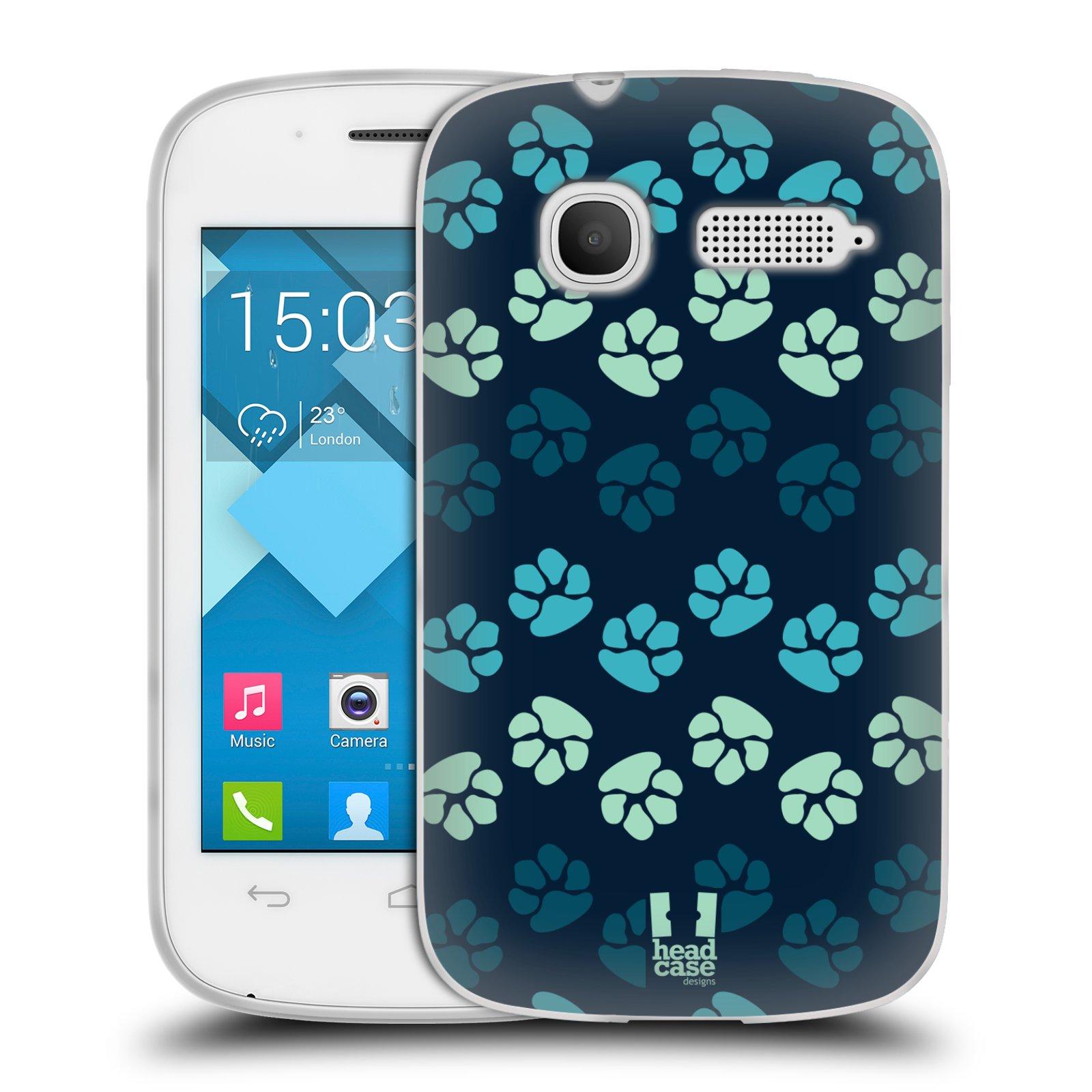 Silikonové pouzdro na mobil Alcatel One Touch Pop C1 HEAD CASE TLAPKY MODRÉ (Silikonový kryt či obal na mobilní telefon Alcatel OT-4015D POP C1)
